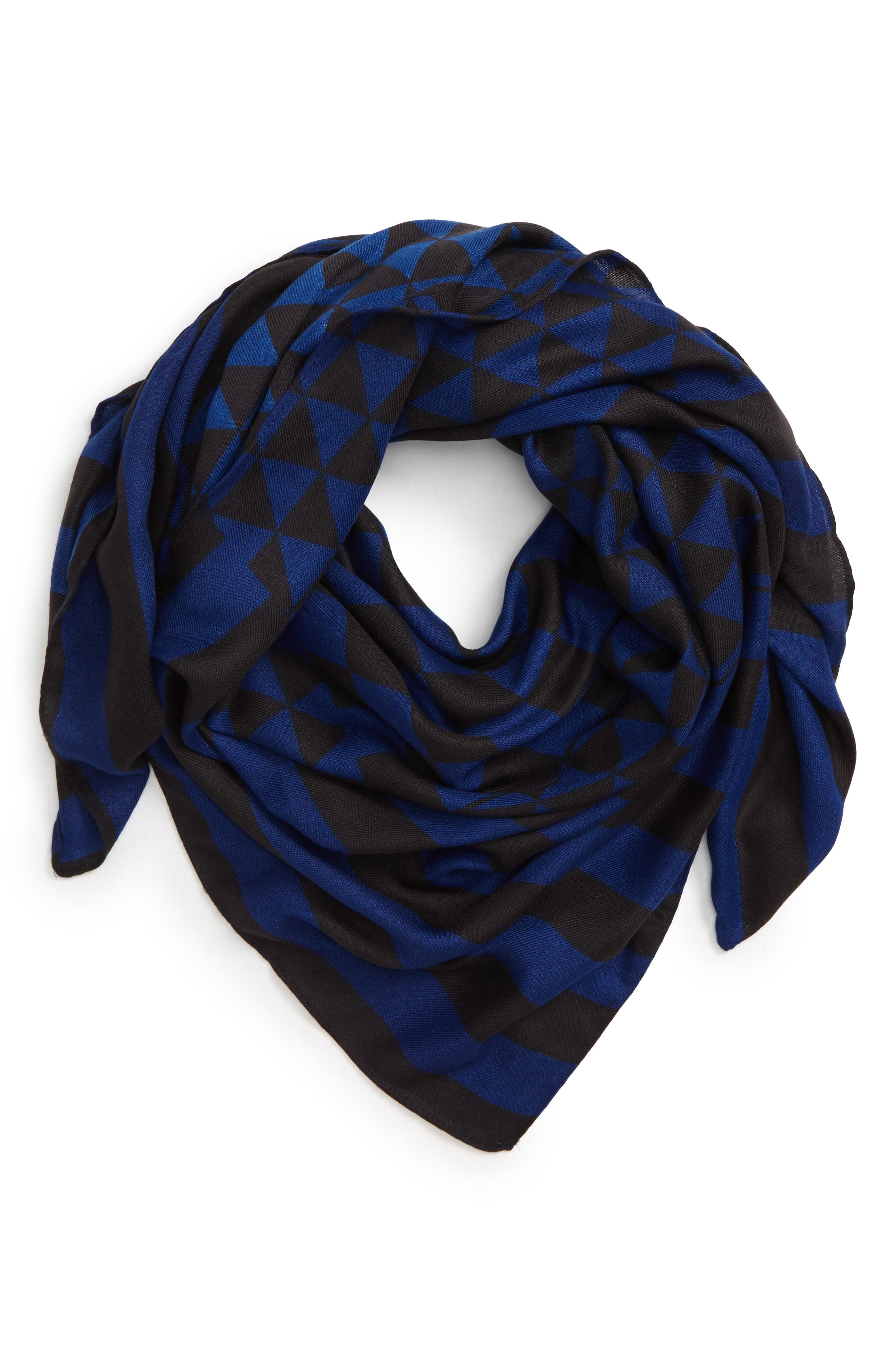 Checked Stripe Blanket Scarf, Main, color, 400