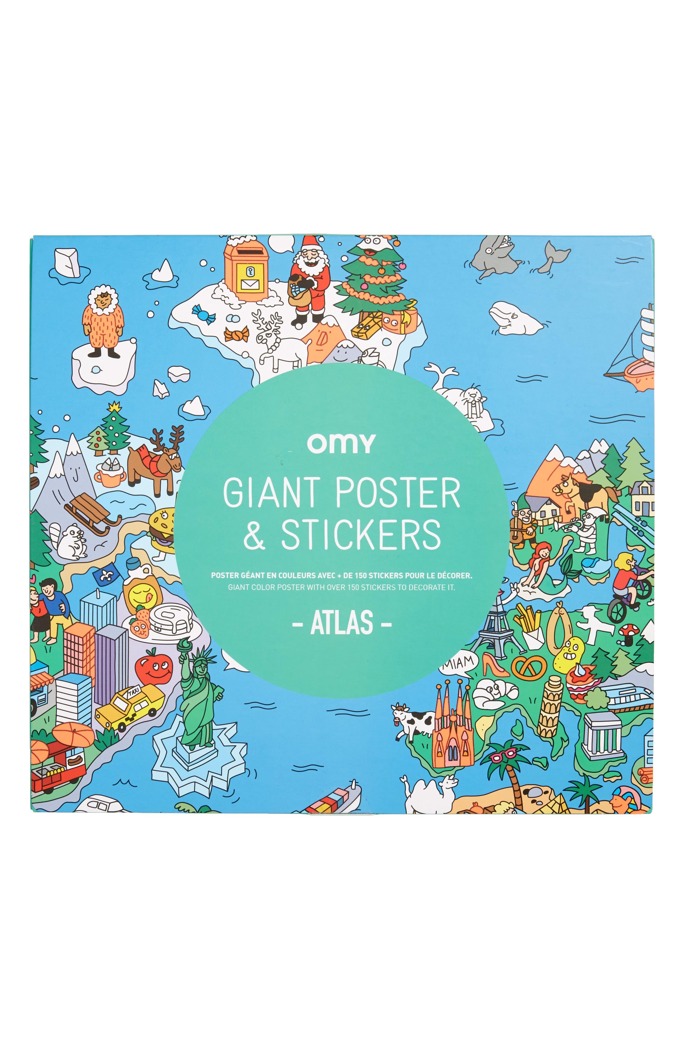 OMY,                             Atlas Sticker Poster Set,                             Main thumbnail 1, color,                             400