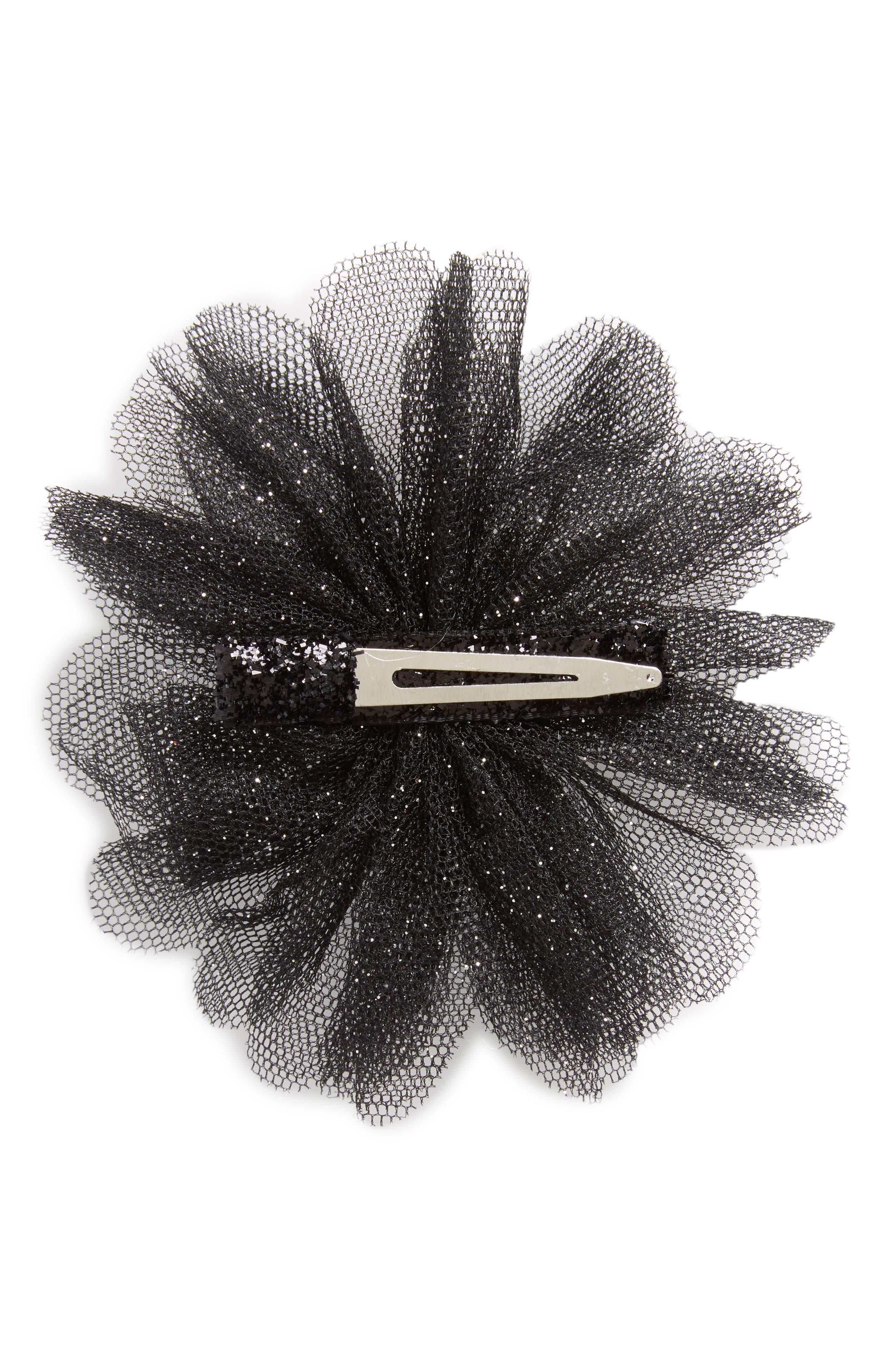 Glitter Flower Hair Clip,                             Alternate thumbnail 2, color,                             001