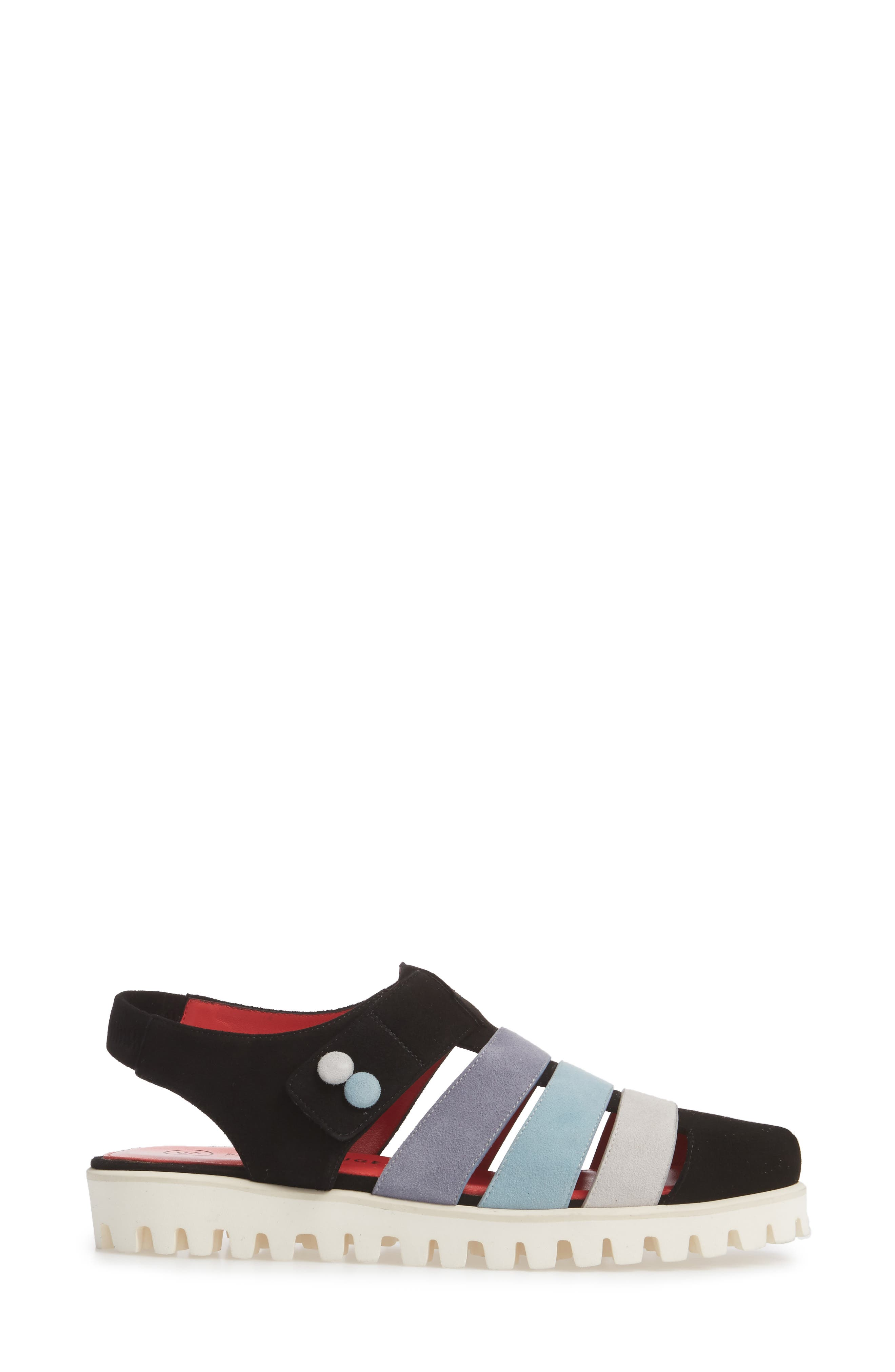 Marta Slingback Sandal,                             Alternate thumbnail 3, color,                             BLACK SUEDE
