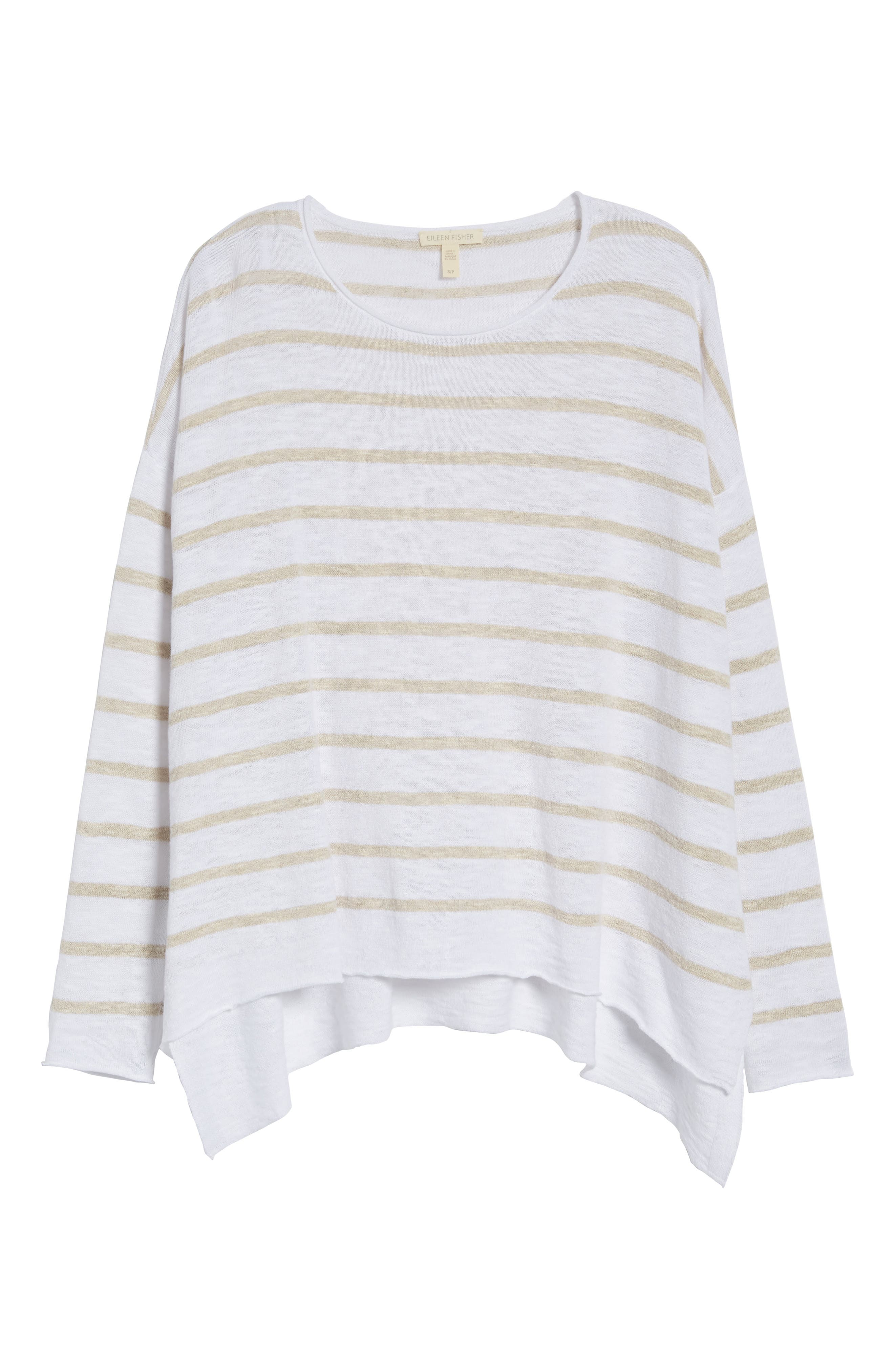 Stripe Organic Linen & Cotton Sweater,                             Alternate thumbnail 7, color,                             138