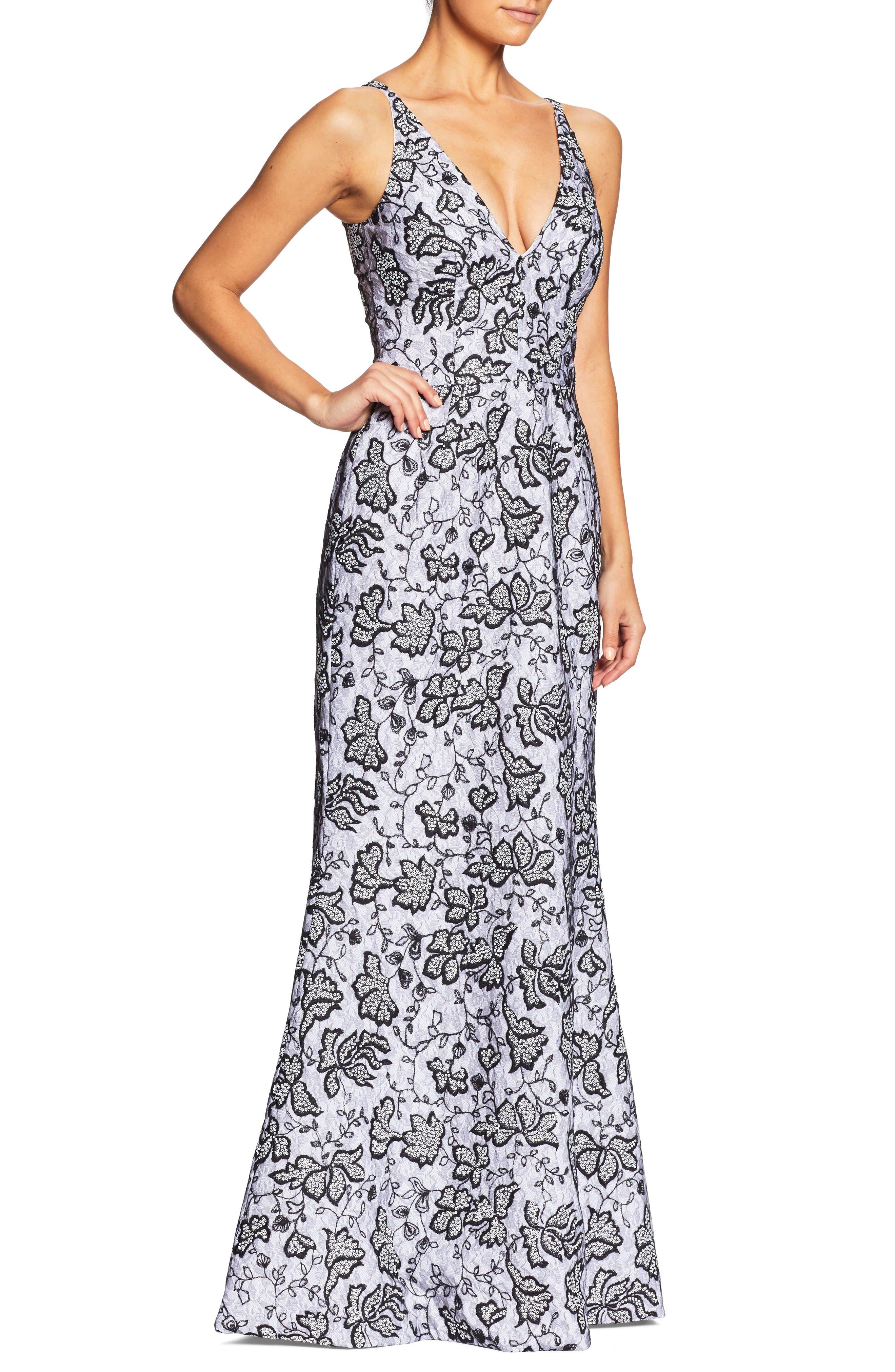 Karen Sequin & Lace Trumpet Gown,                             Main thumbnail 1, color,                             WHITE/ BLACK