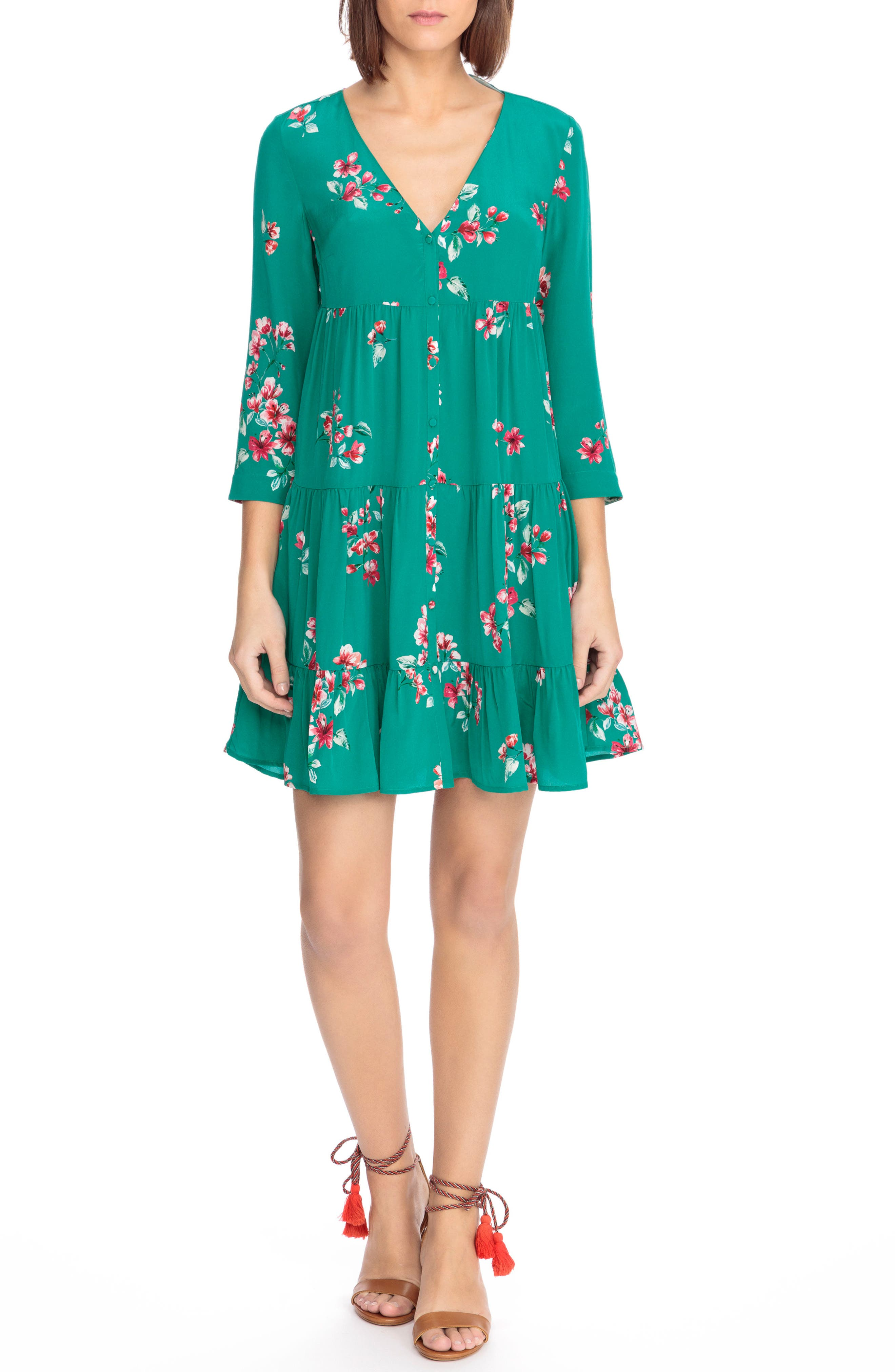 Aure Silk A-Line Dress,                             Main thumbnail 2, color,