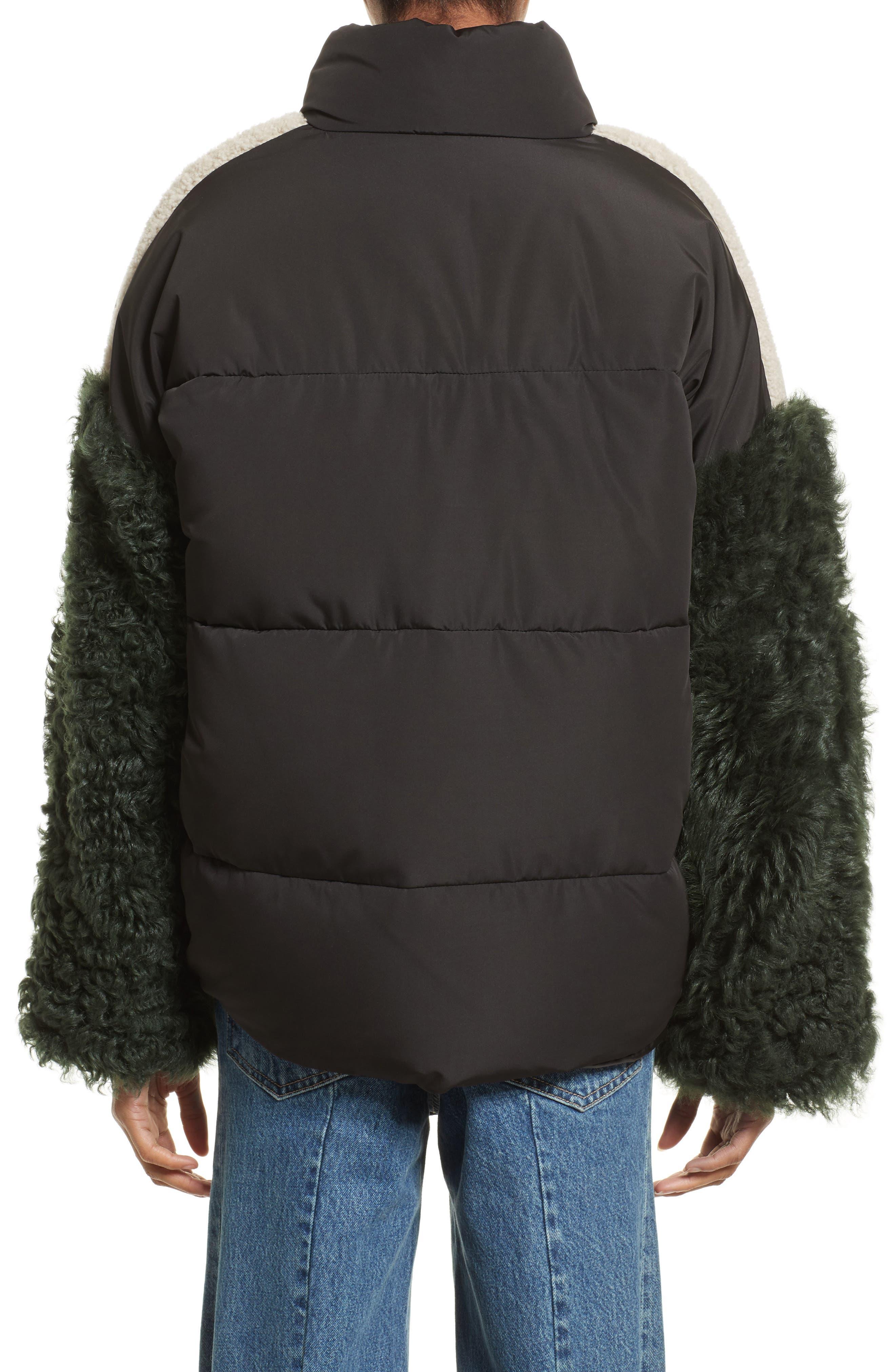 Eldridge Puffer Coat with Genuine Shearling Sleeves,                             Alternate thumbnail 2, color,                             001
