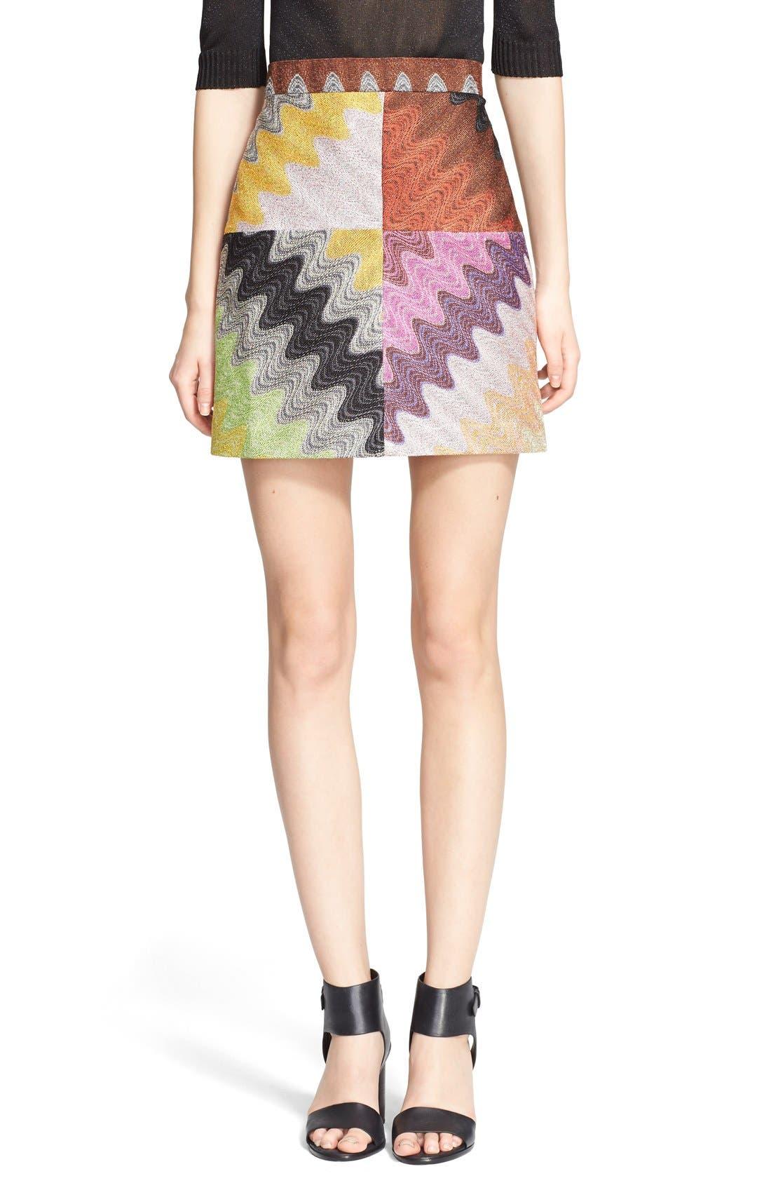 Multicolor Wave Stitch Miniskirt,                         Main,                         color,