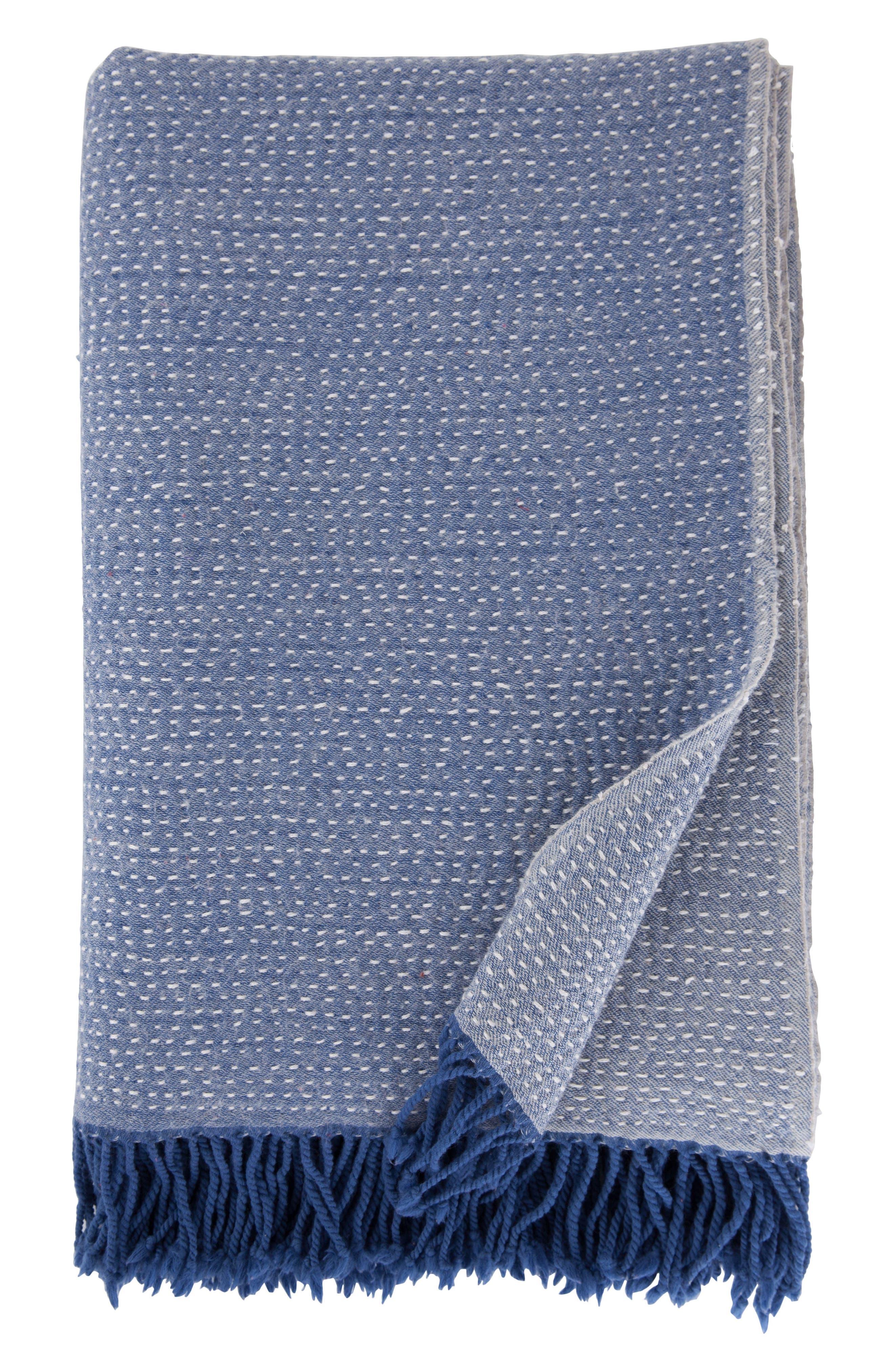 Hand Embroidered Merino Wool Blanket,                             Main thumbnail 1, color,                             CHAMBRAY