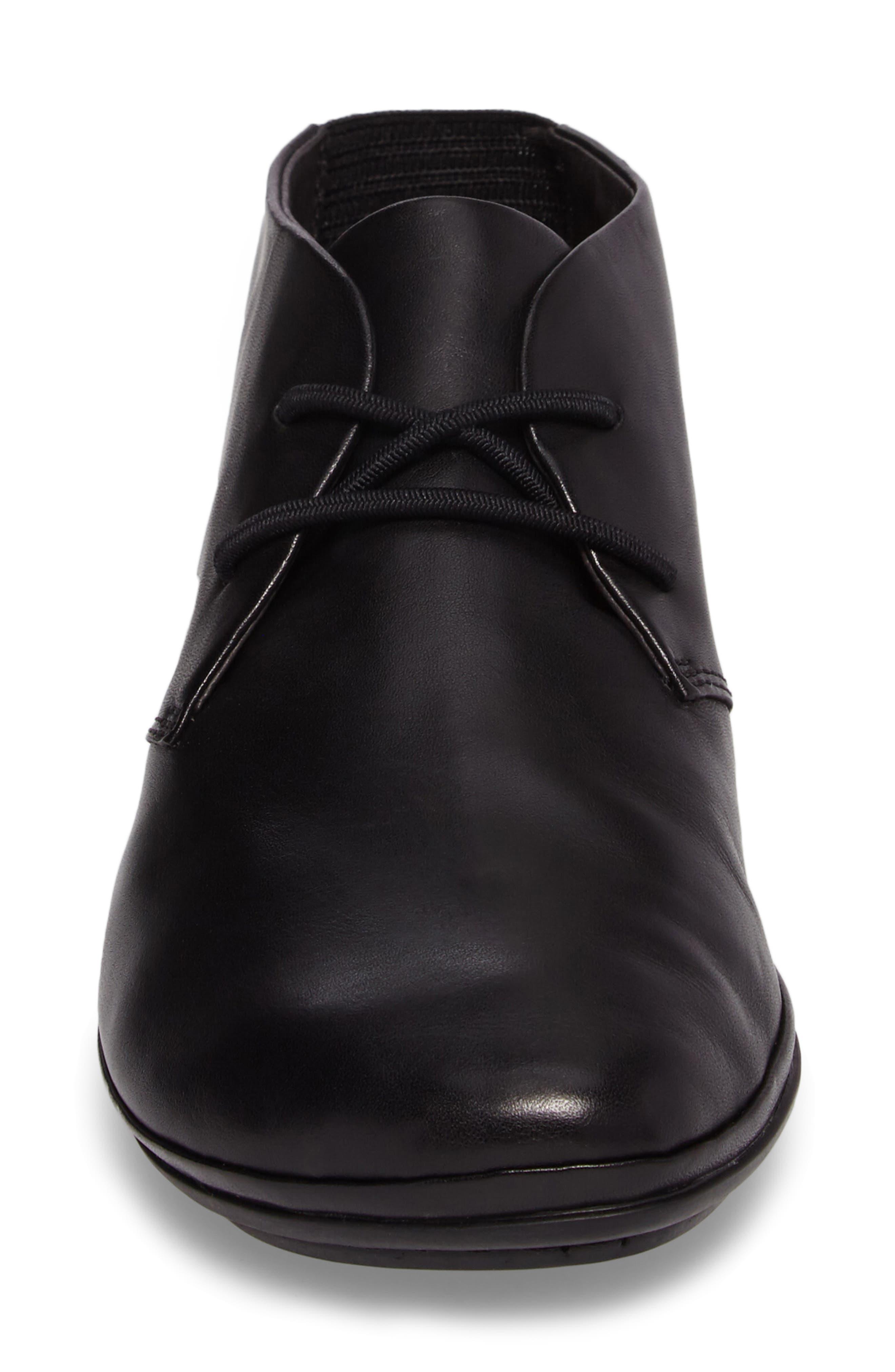 Right Nina Desert Shoe,                             Alternate thumbnail 4, color,                             BLACK LEATHER