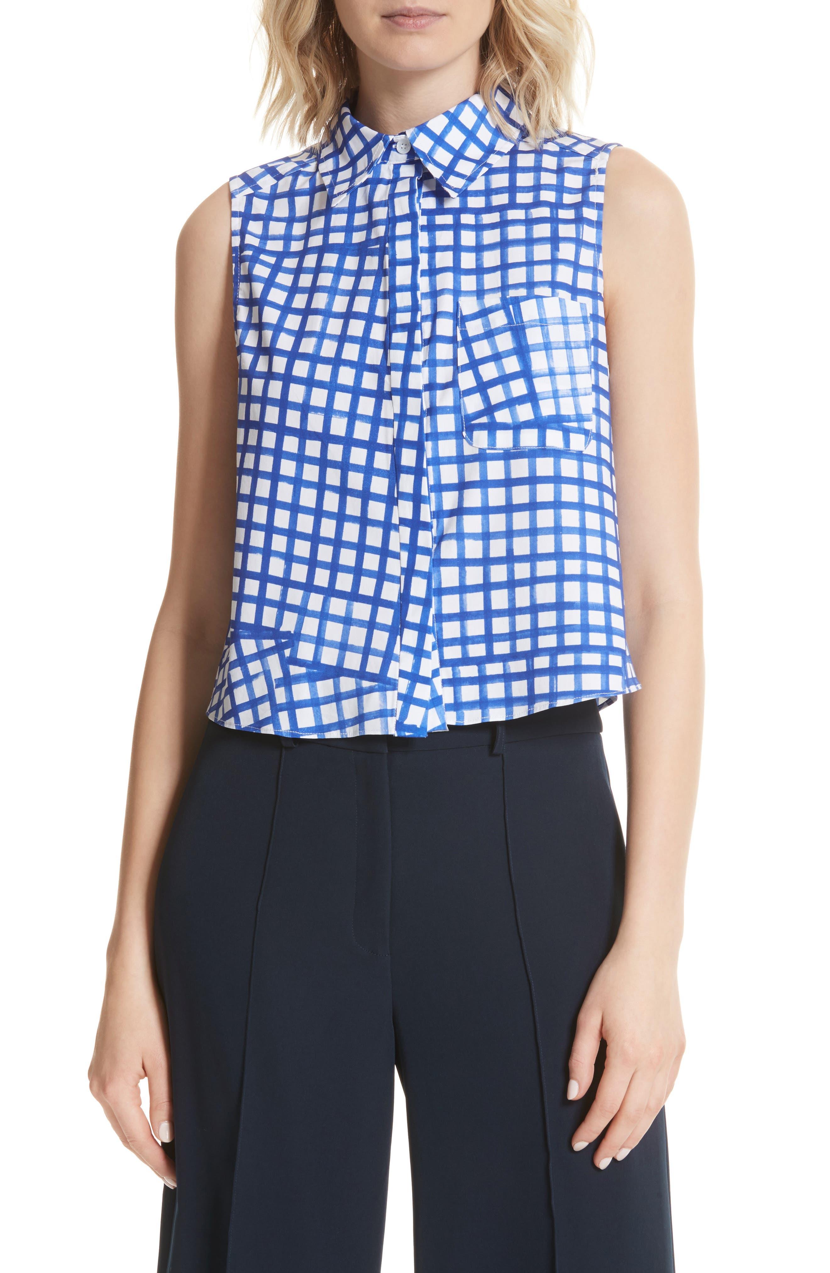 Leah Tie Back Stretch Cotton Blouse,                         Main,                         color, 473