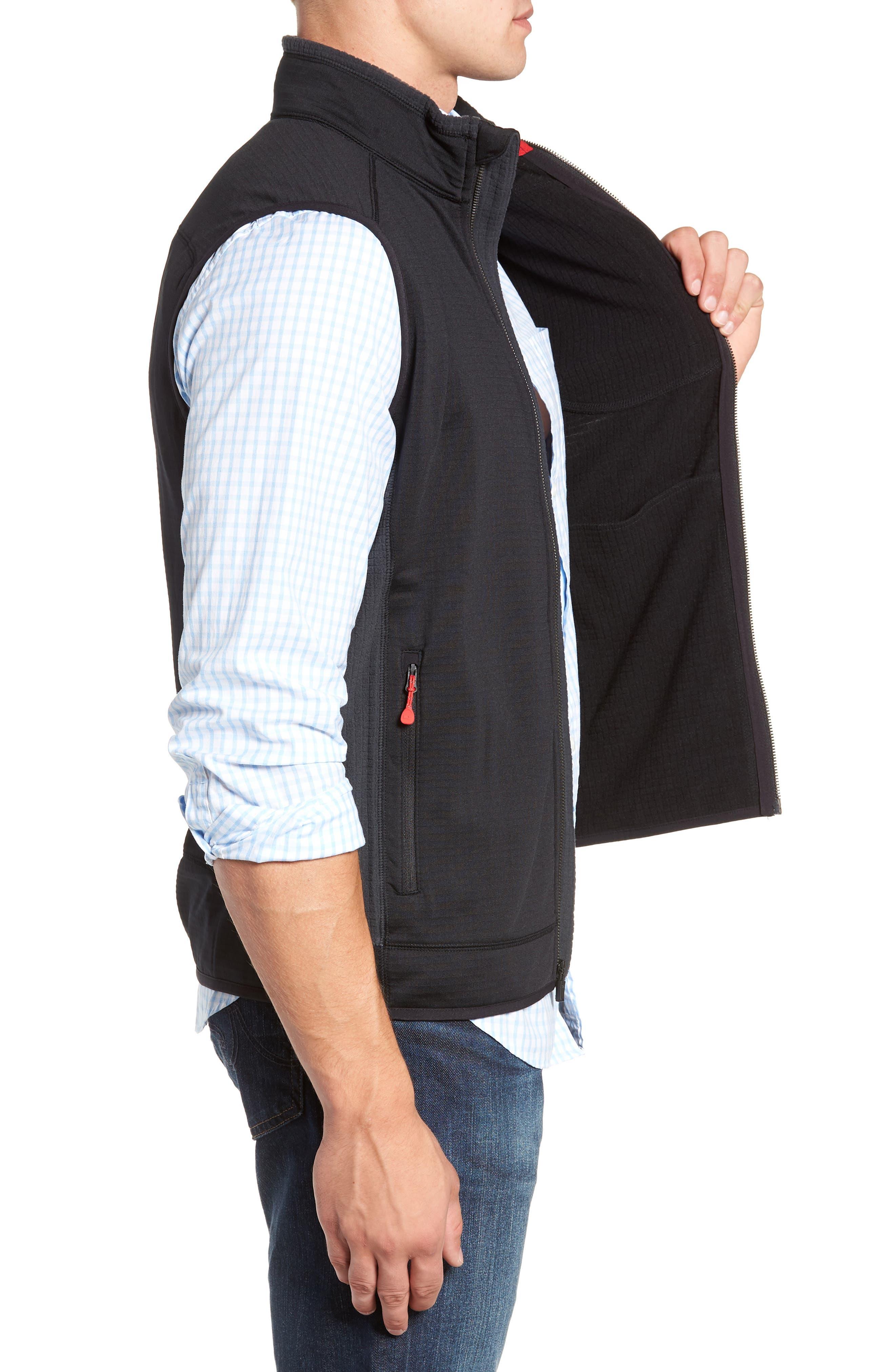 Grid Ripstop Fleece Vest,                             Alternate thumbnail 3, color,                             002