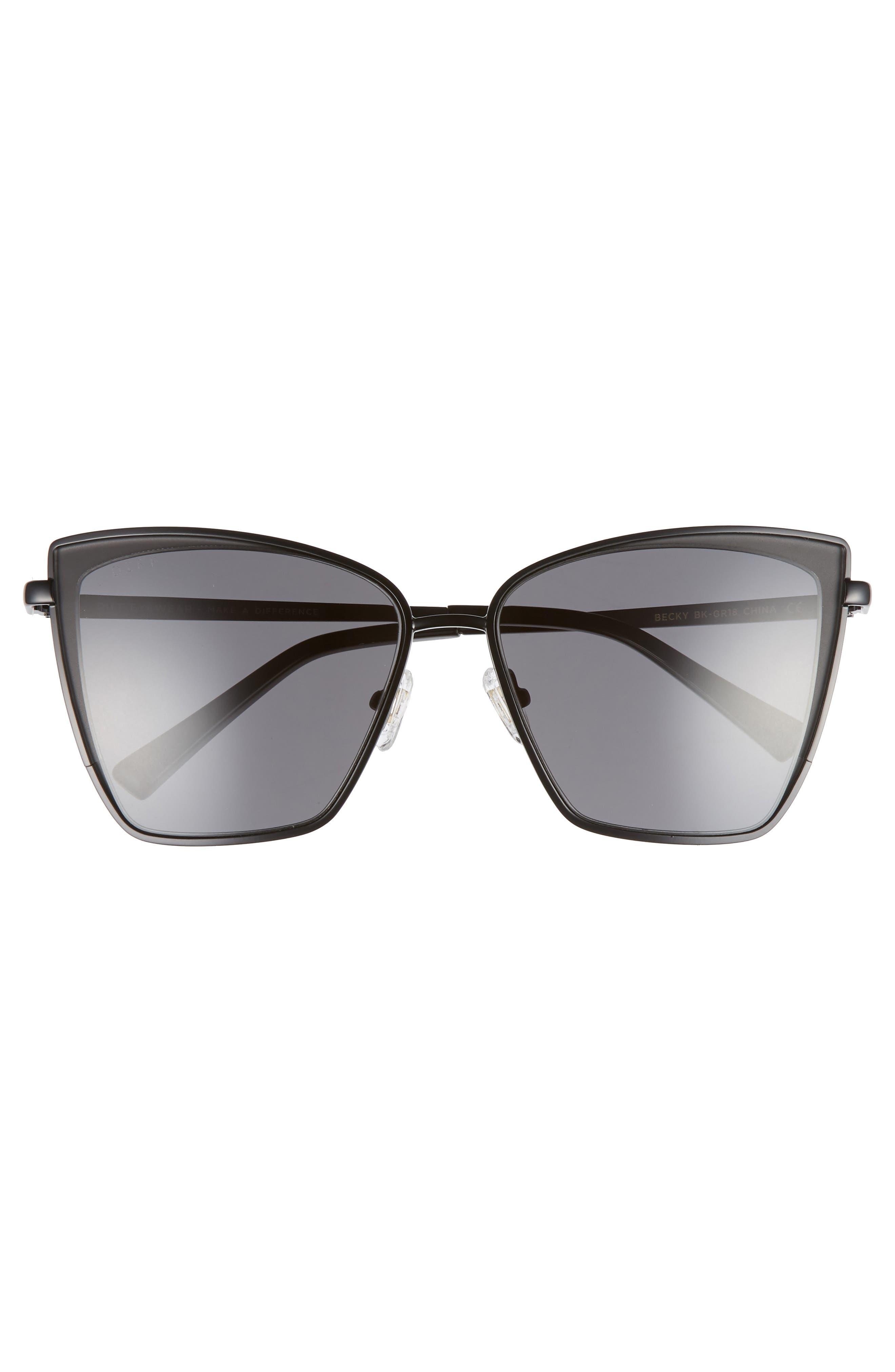Becky 57mm Sunglasses,                             Alternate thumbnail 3, color,                             BLACK/ GREY