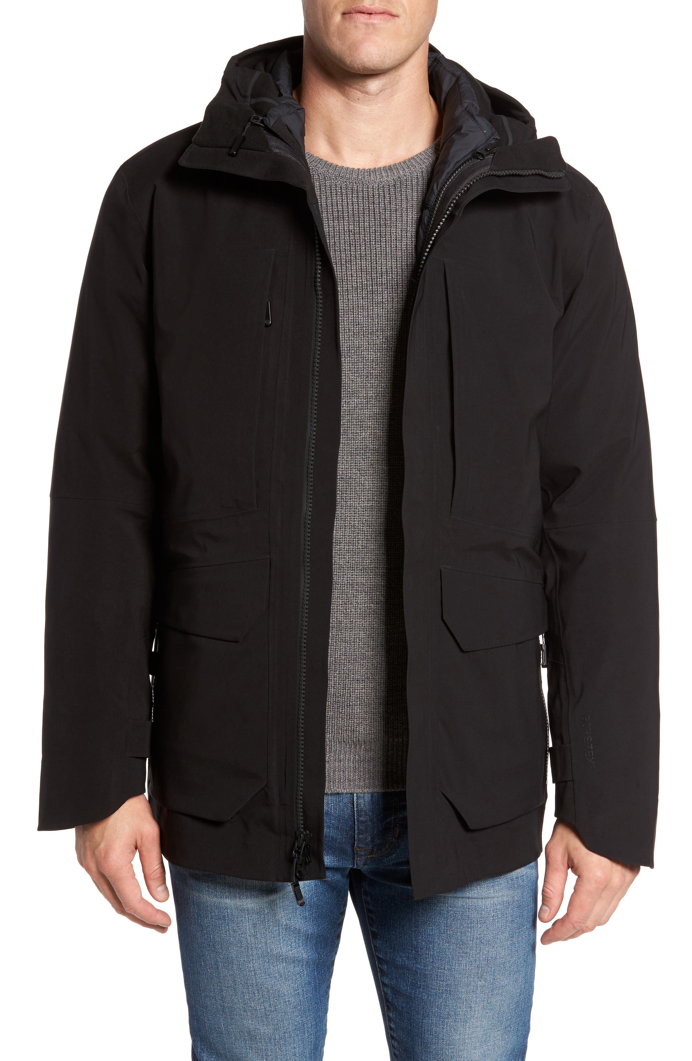 Cryos Gore-Tex<sup>®</sup> Tri-Climate 3-in-1 Jacket,                         Main,                         color, TNF BLACK