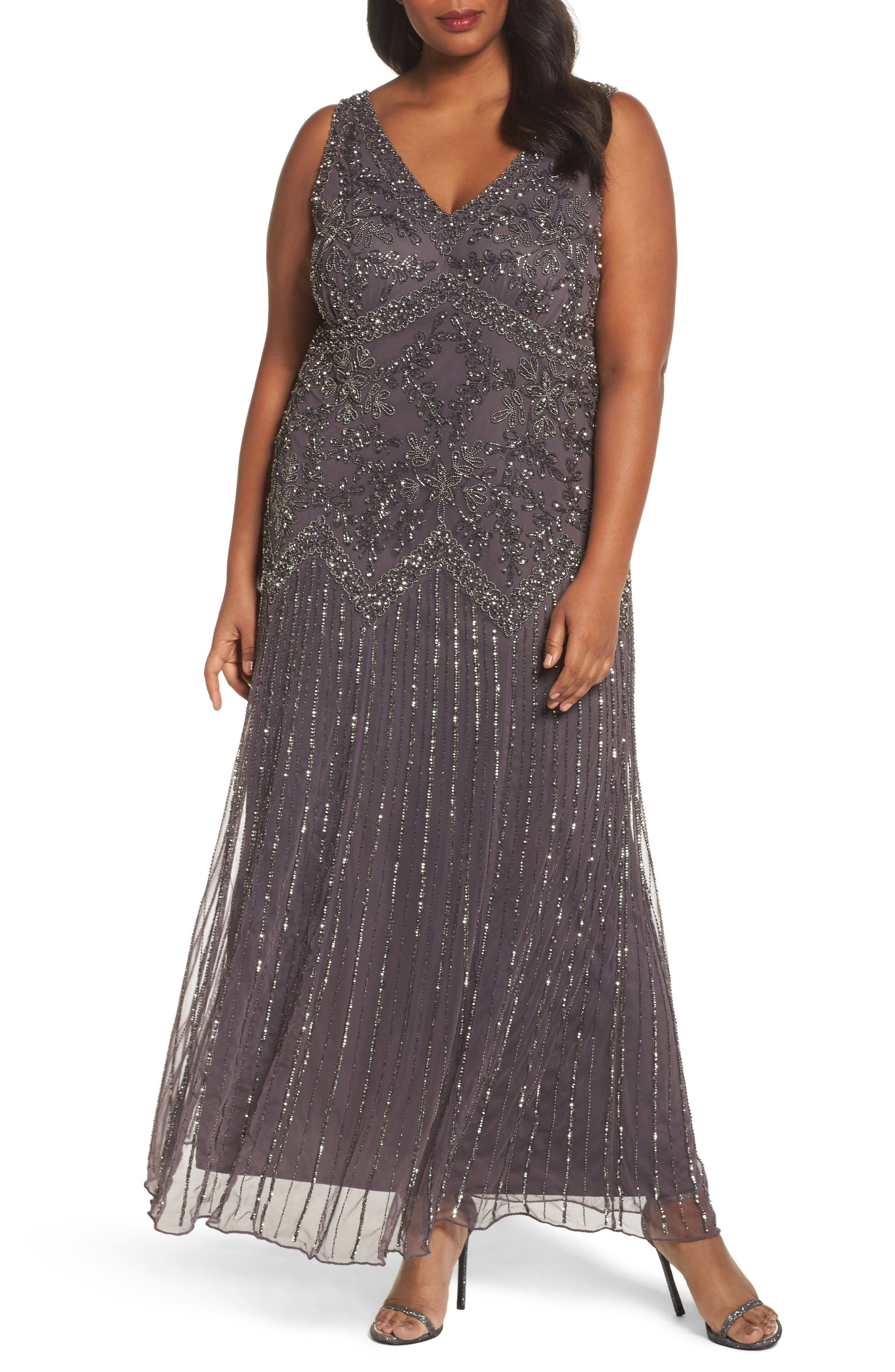 Beaded V-Neck Gown,                             Main thumbnail 1, color,                             020
