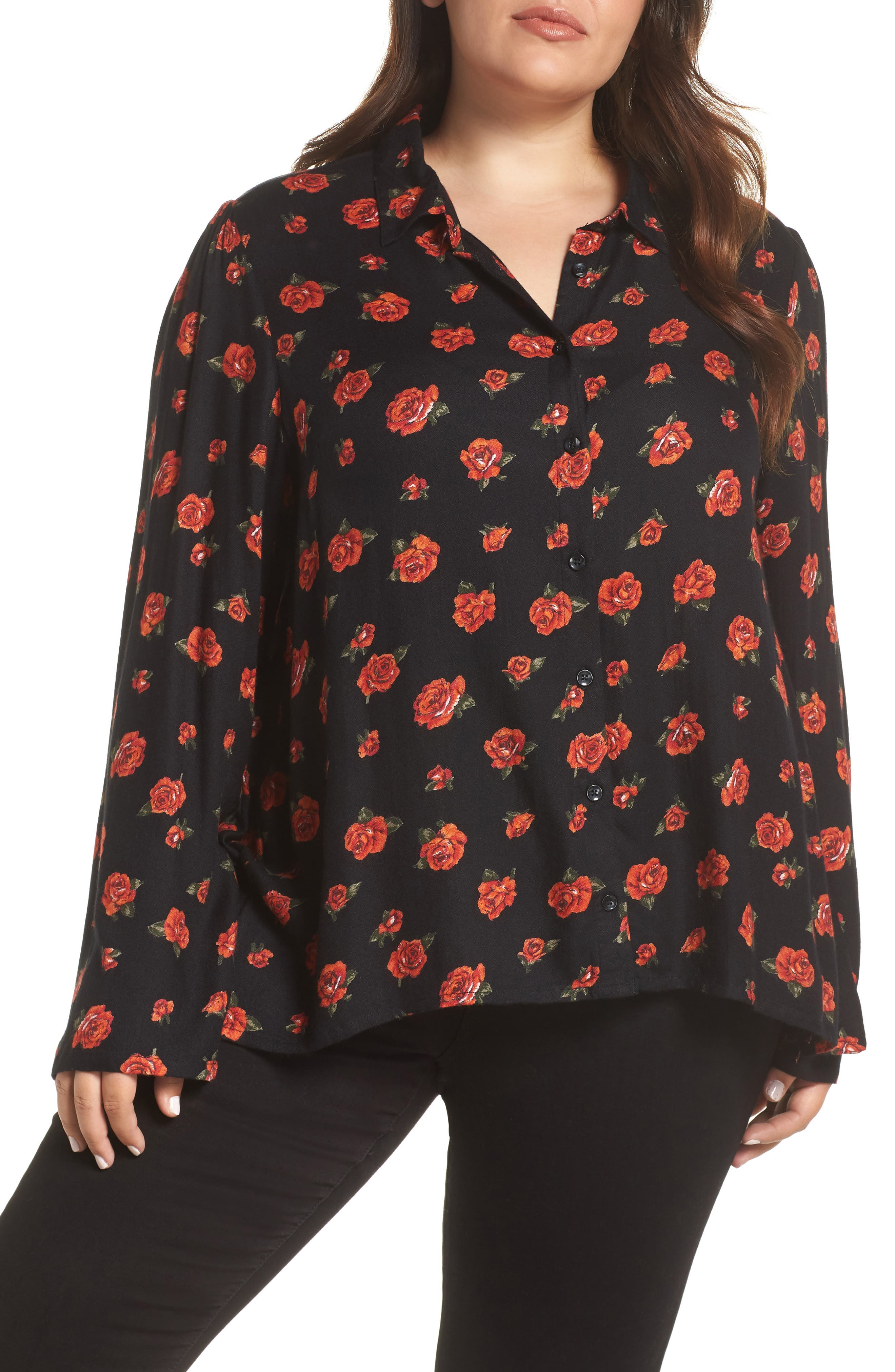 VOLCOM,                             Laundry Monies Rose Print Blouse,                             Main thumbnail 1, color,                             RED