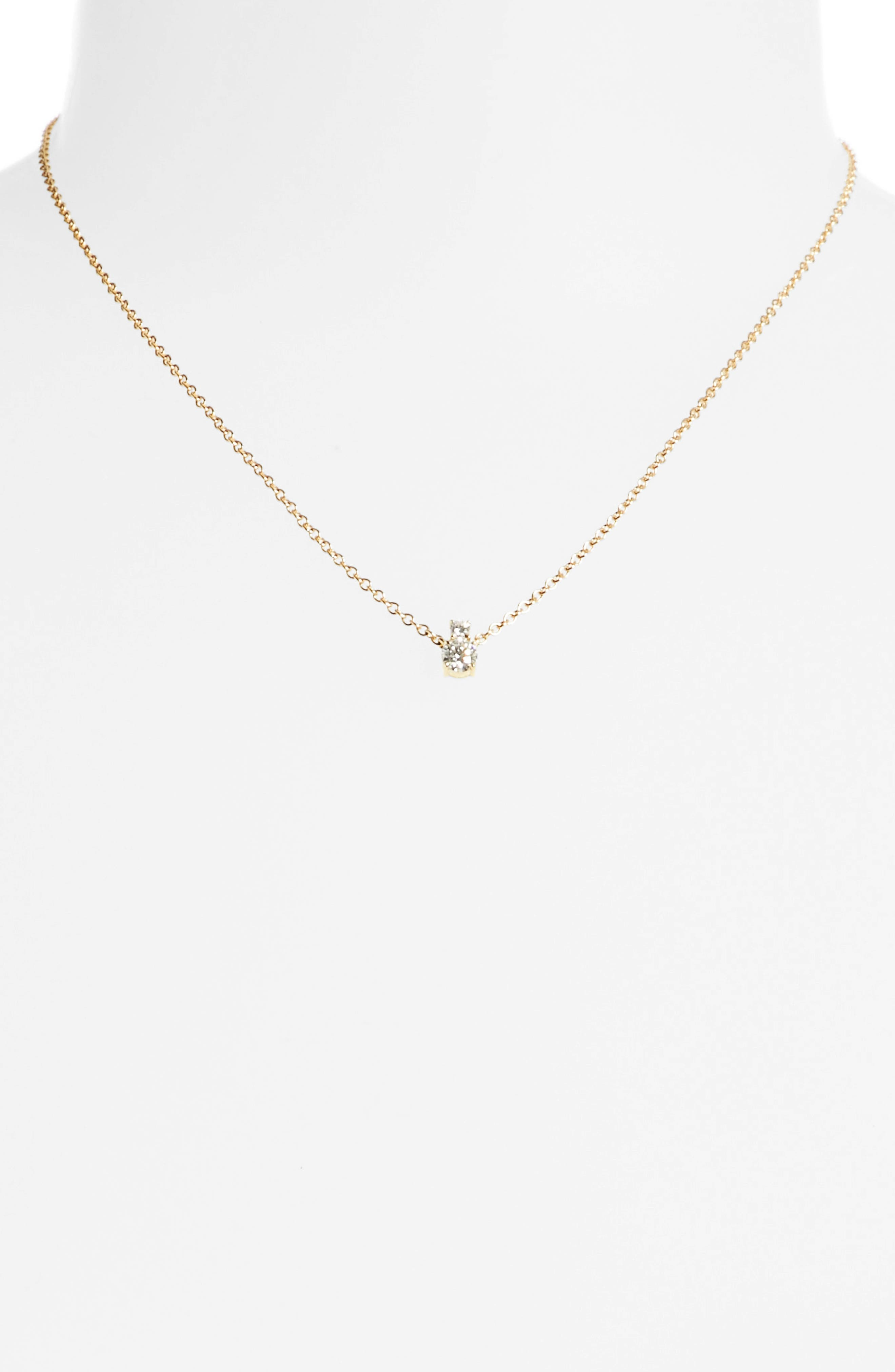 Prive Luxe 18K Gold & Diamond Solitaire Necklace,                             Alternate thumbnail 2, color,                             710
