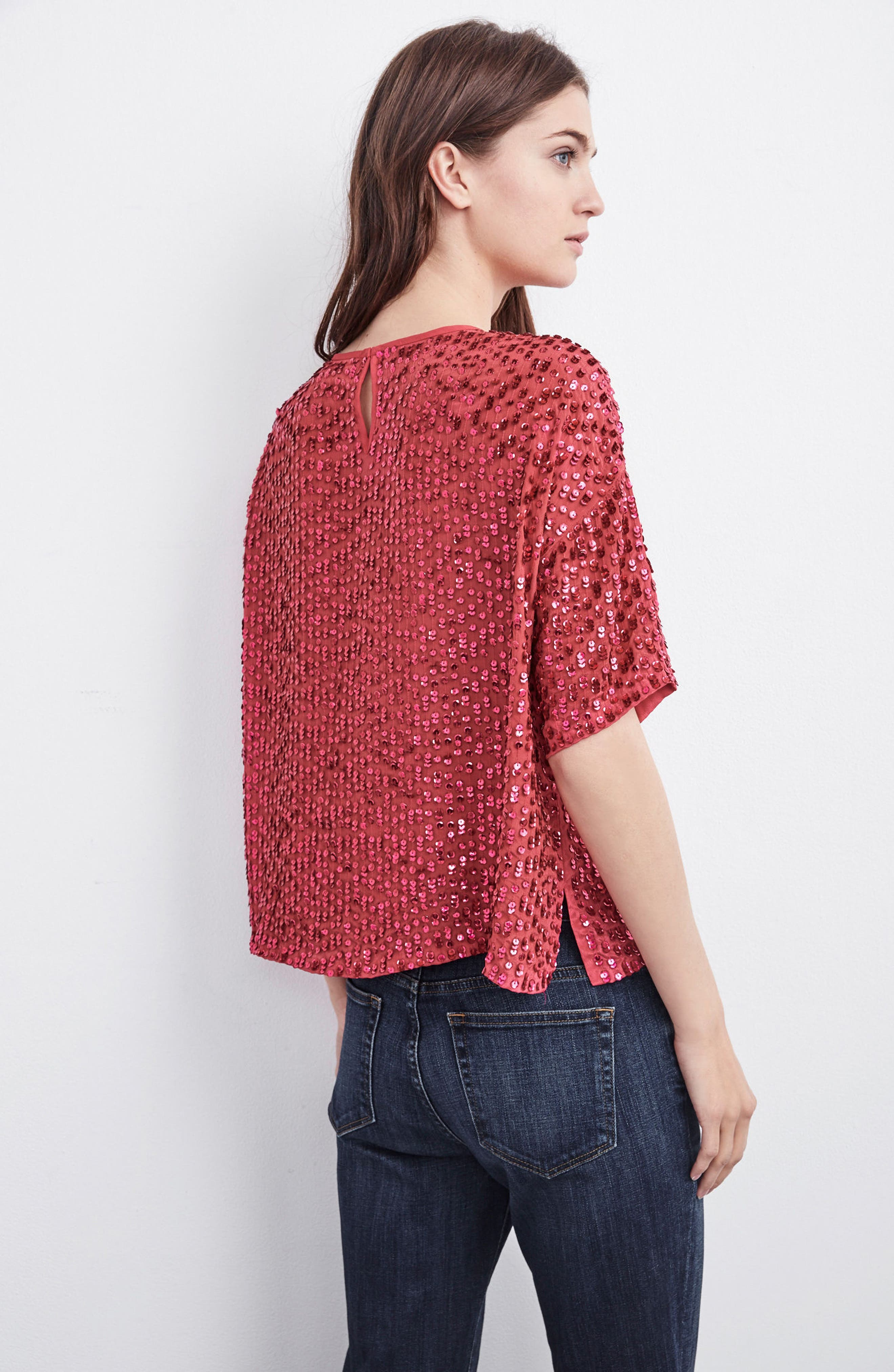 Short Sleeve Sequin Top,                             Alternate thumbnail 7, color,                             HOT PINK