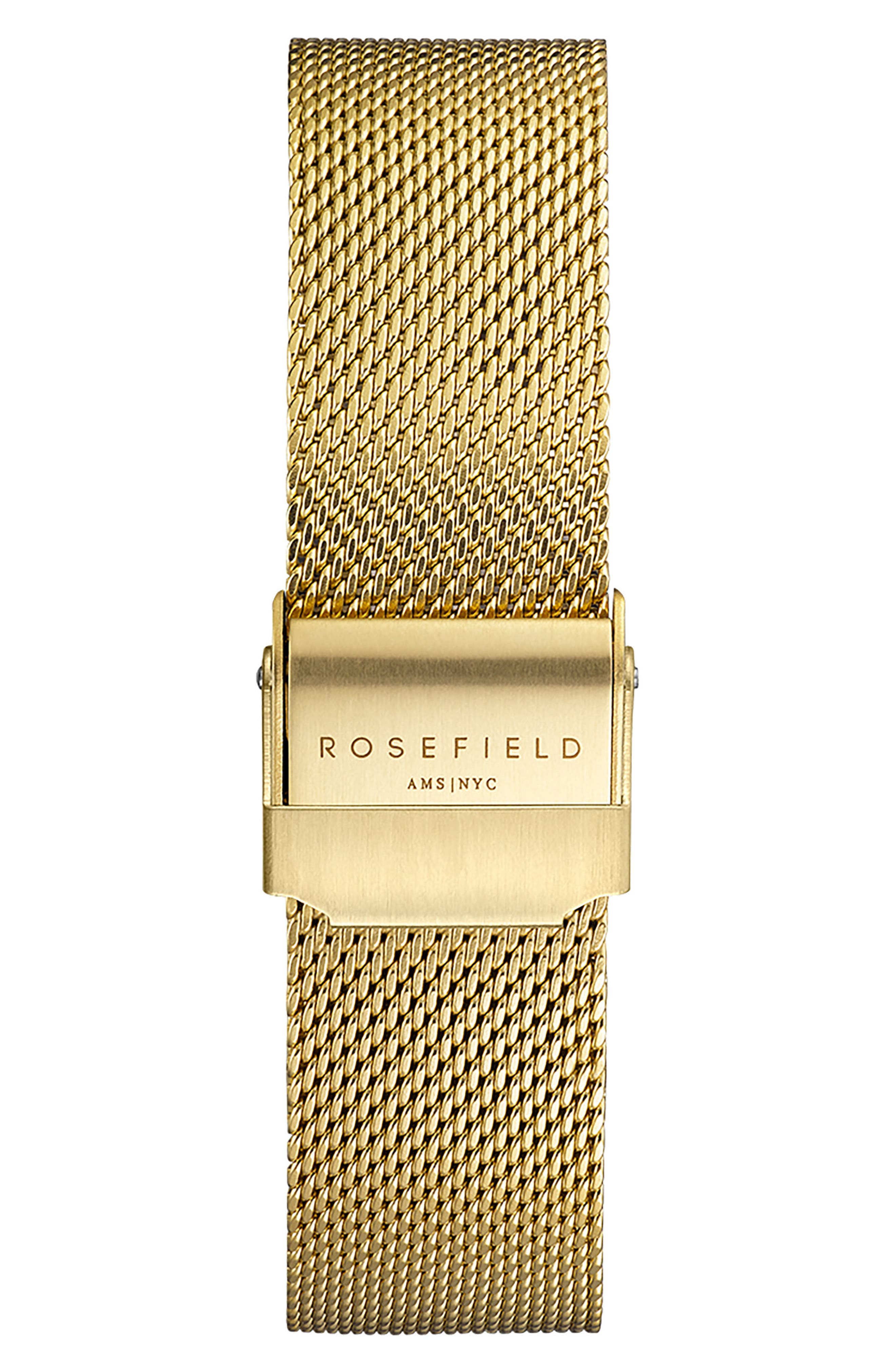 Tribeca Mesh Strap Watch, 33mm,                             Alternate thumbnail 2, color,                             GOLD/ WHITE/ GOLD