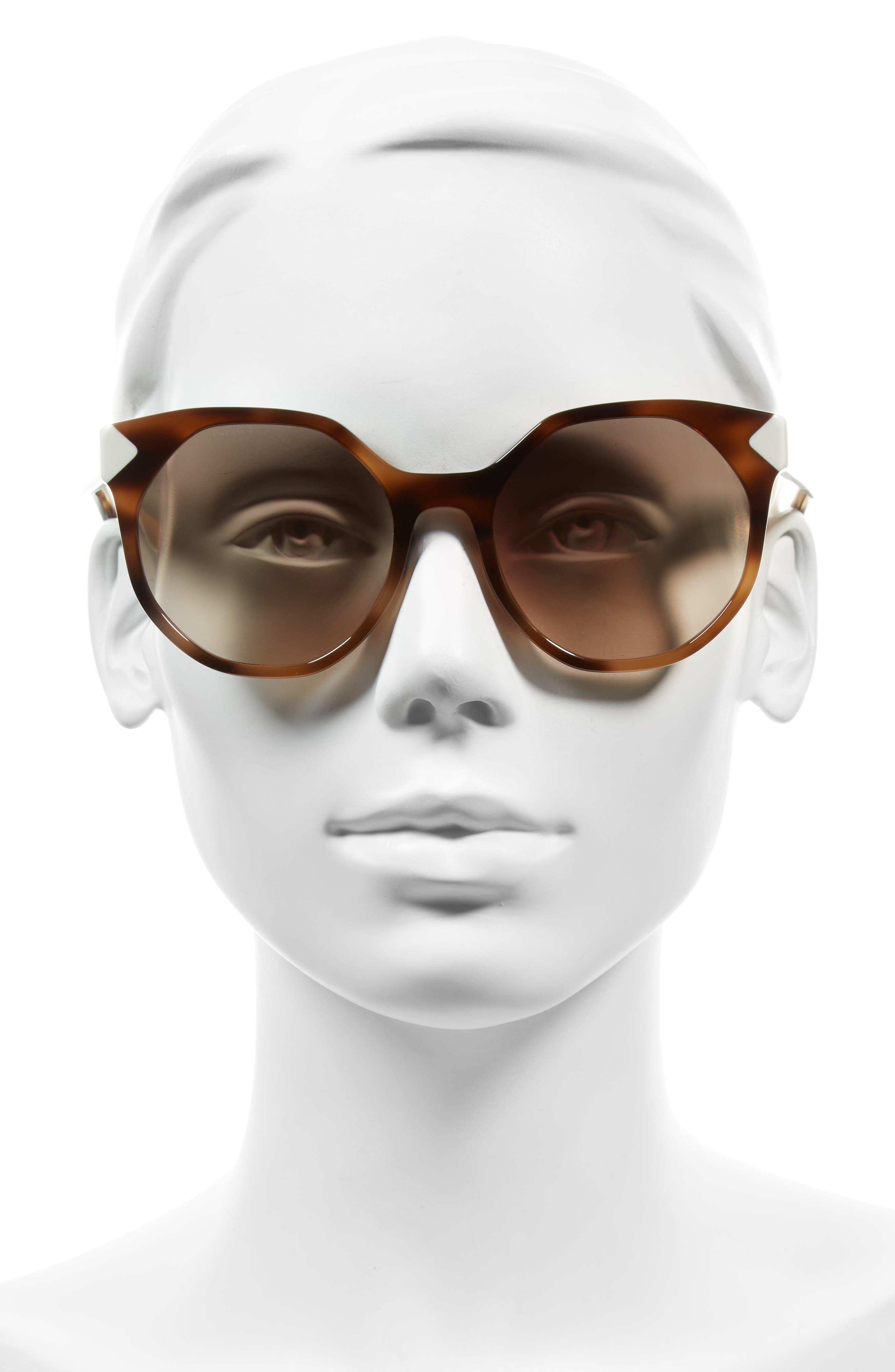 55mm Gradient Geometric Sunglasses,                             Alternate thumbnail 2, color,                             200