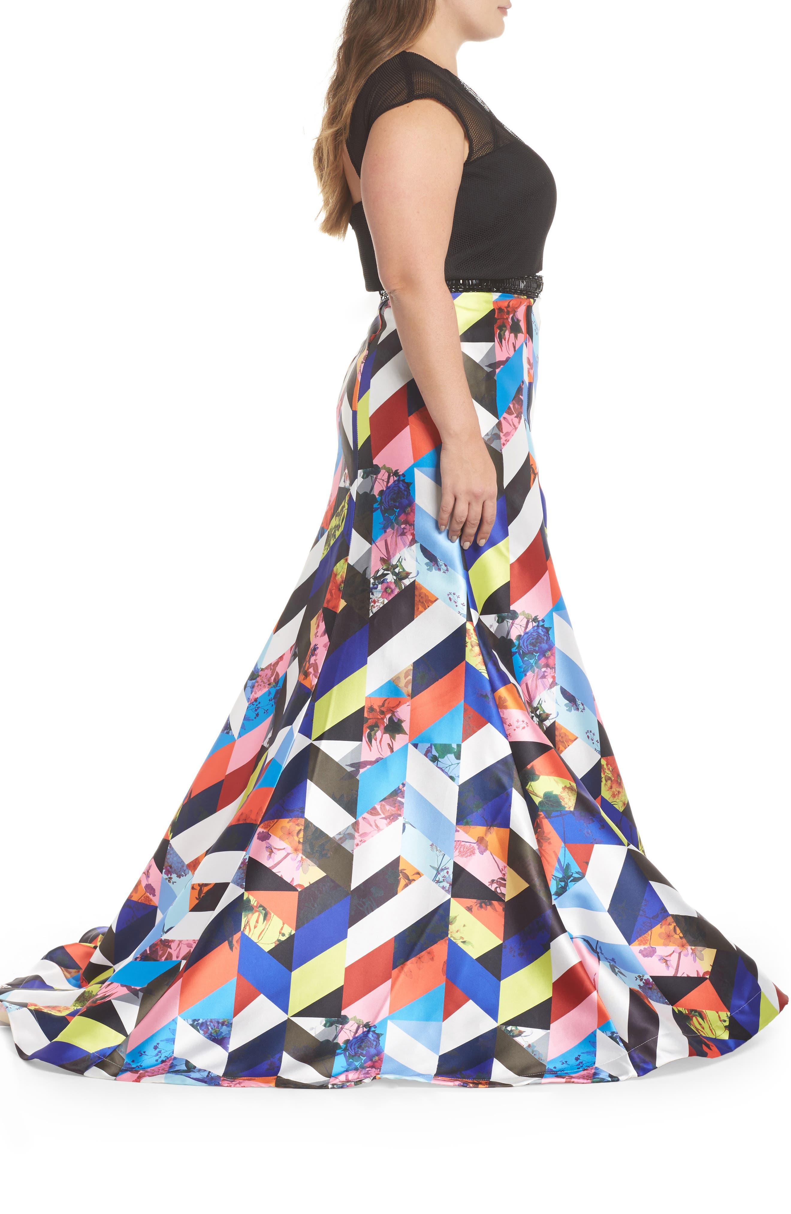 Mesh & Print Two-Piece Gown,                             Alternate thumbnail 3, color,                             BLACK/ MULTI