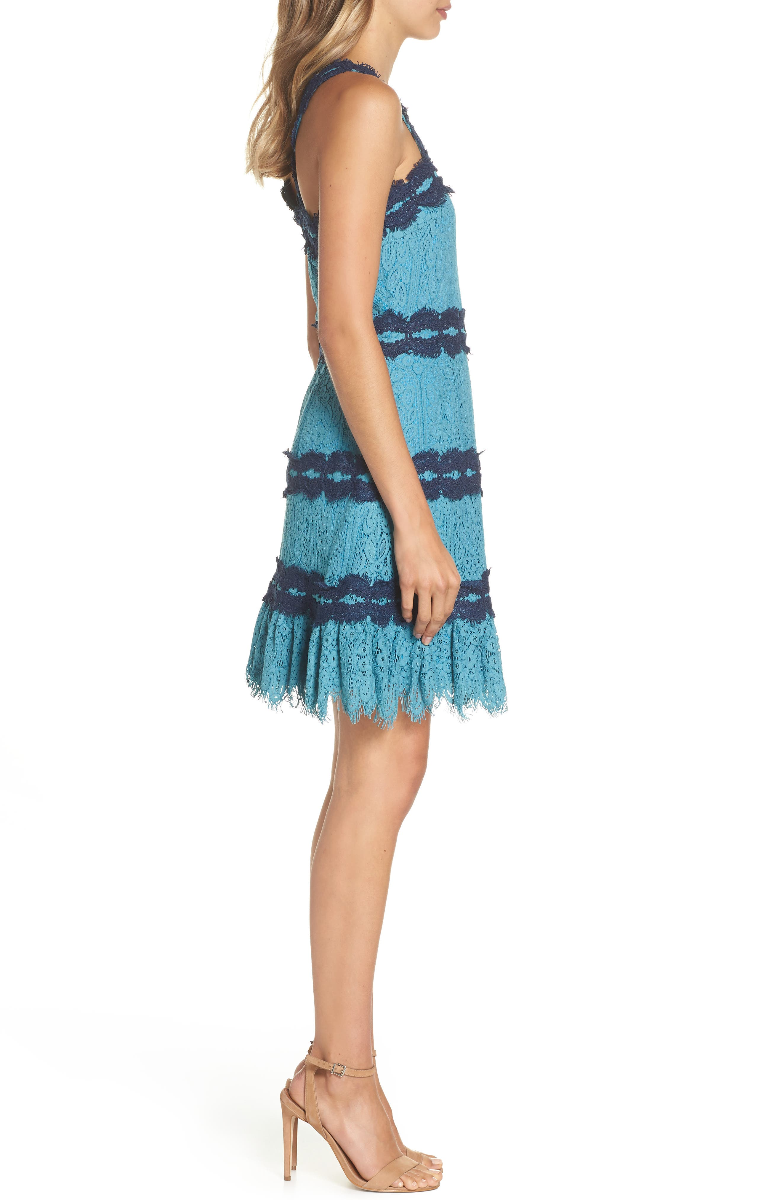 Lula Ruffle Lace Dress,                             Alternate thumbnail 3, color,                             TEAL/ NAVY