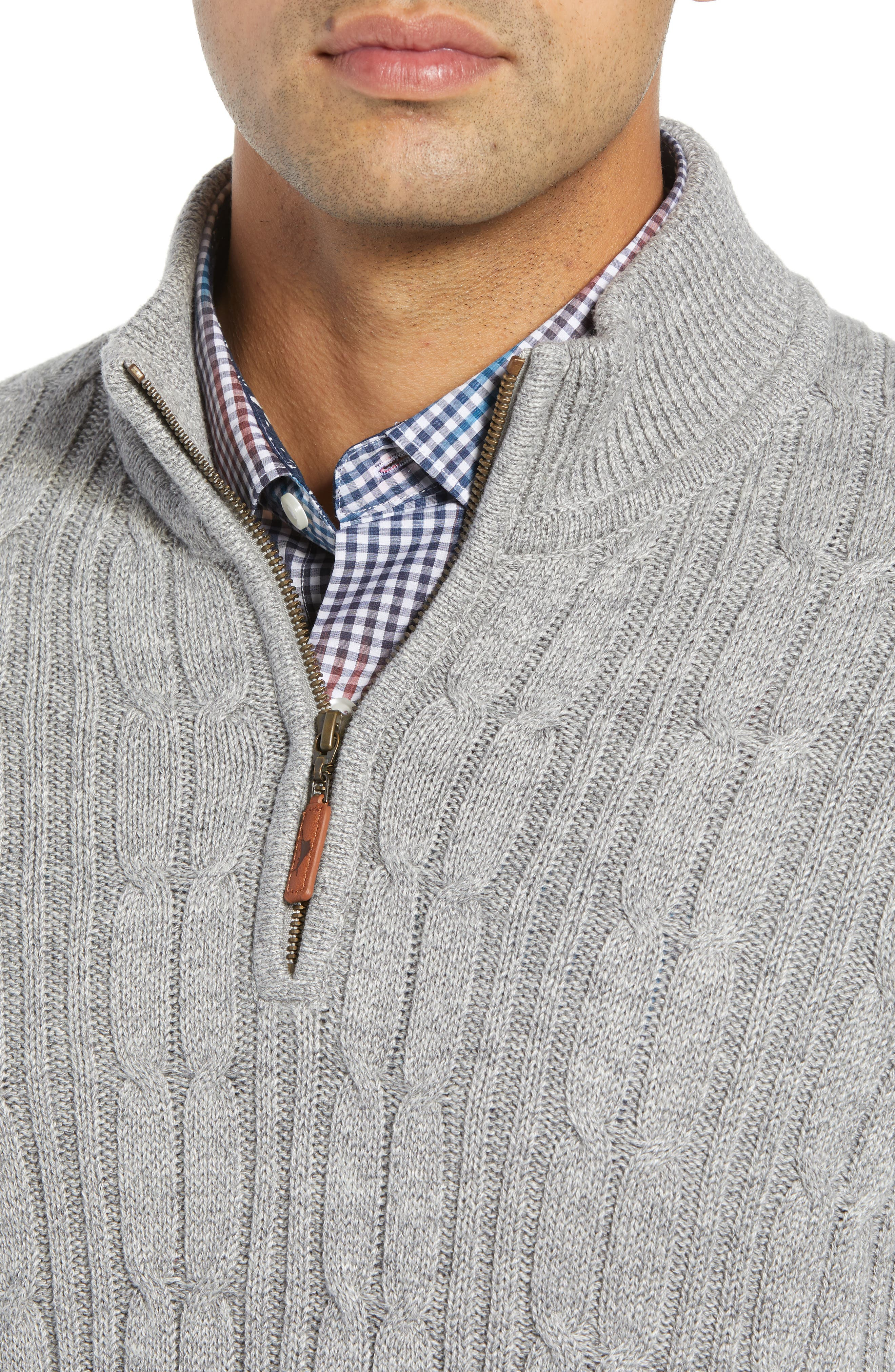 Tenorio Cable Knit Zip Sweater,                             Alternate thumbnail 4, color,                             LIGHT STORM