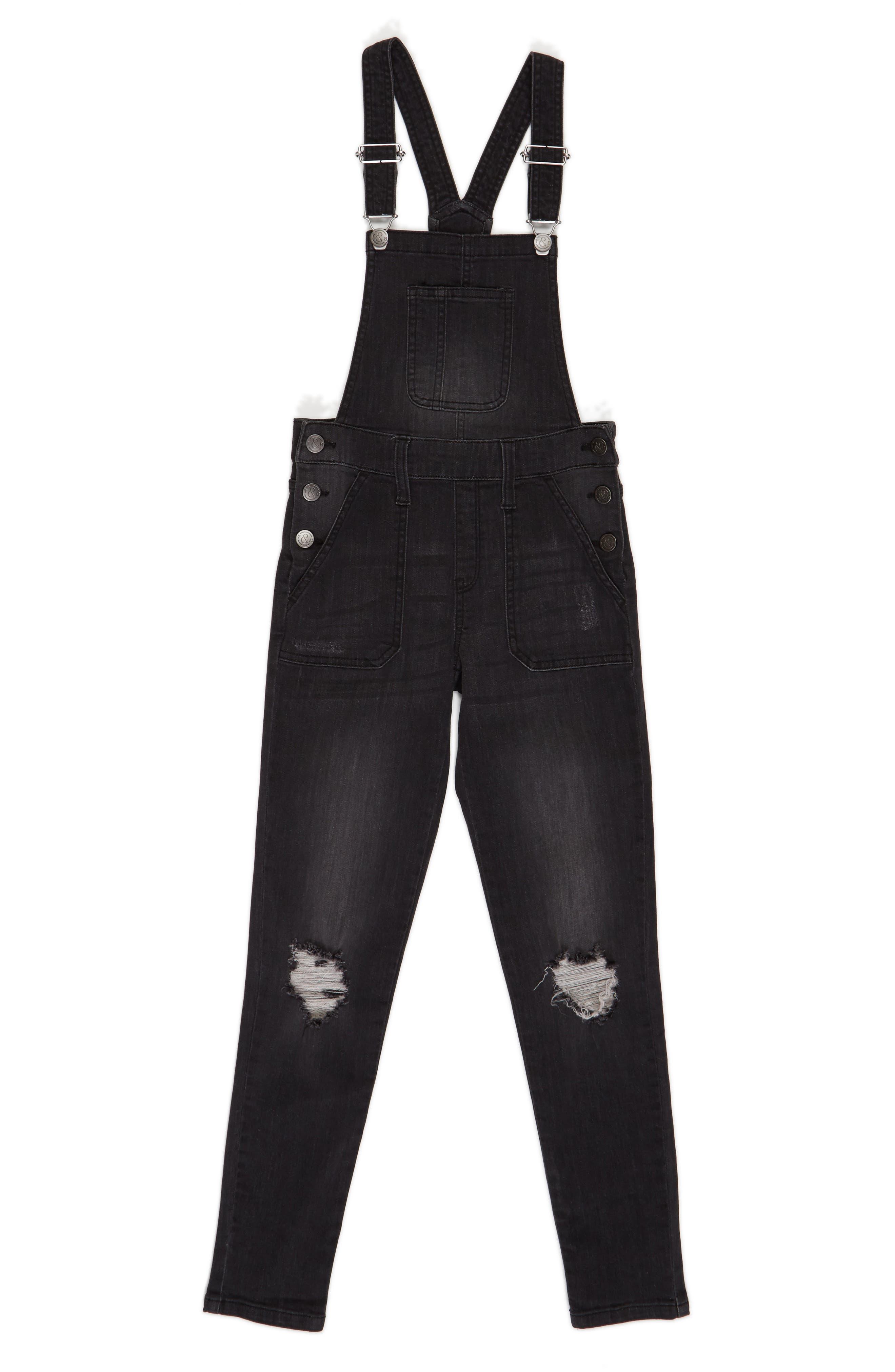 Girls Treasure  Bond Distressed Skinny Overalls Size 12  Black