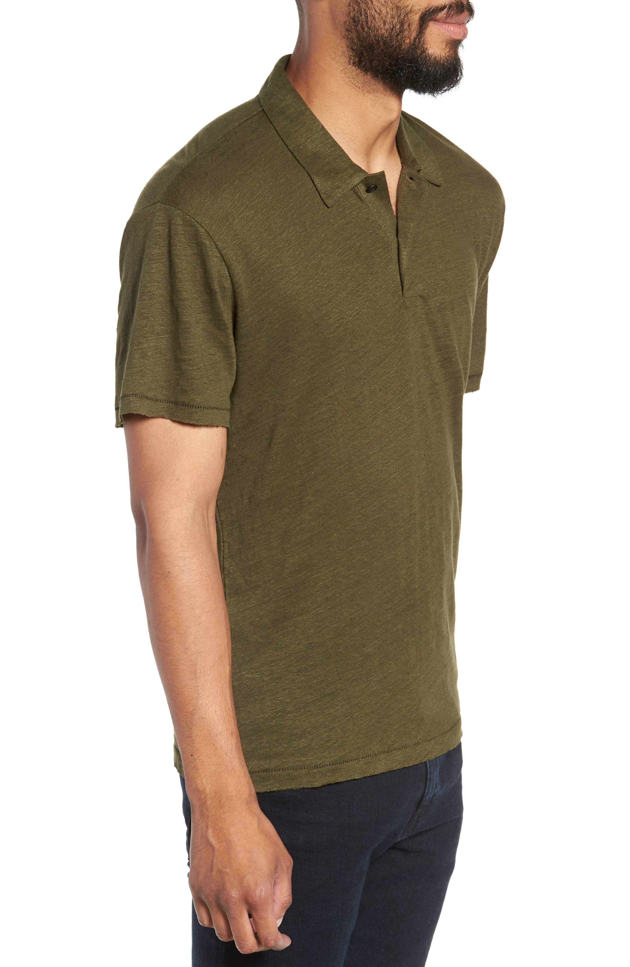 Owen Regular Fit Linen Polo,                             Alternate thumbnail 3, color,                             ARMY