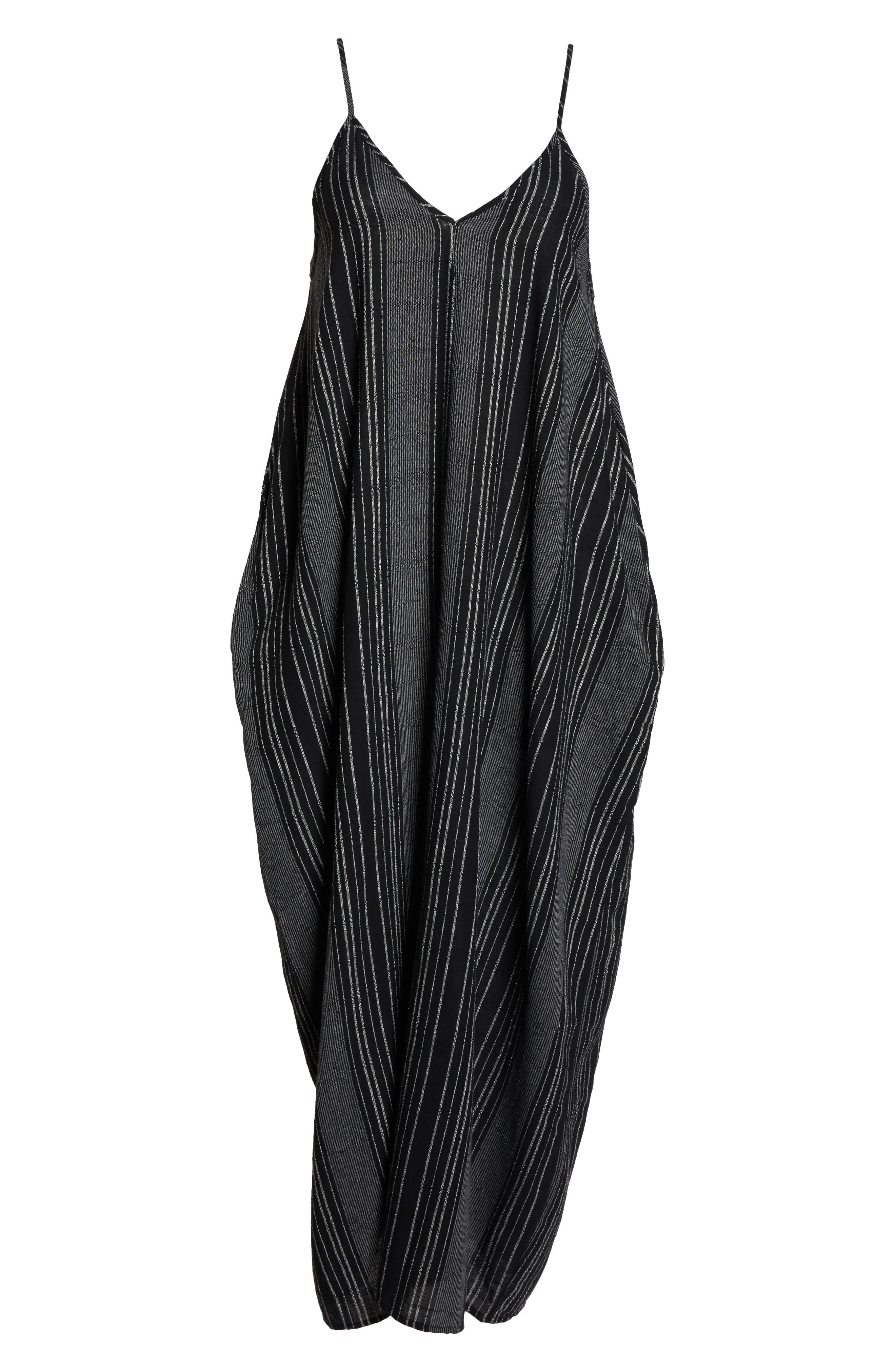 Cover-Up Maxi Dress,                             Alternate thumbnail 6, color,                             BLACK/ WHITE STRIPE