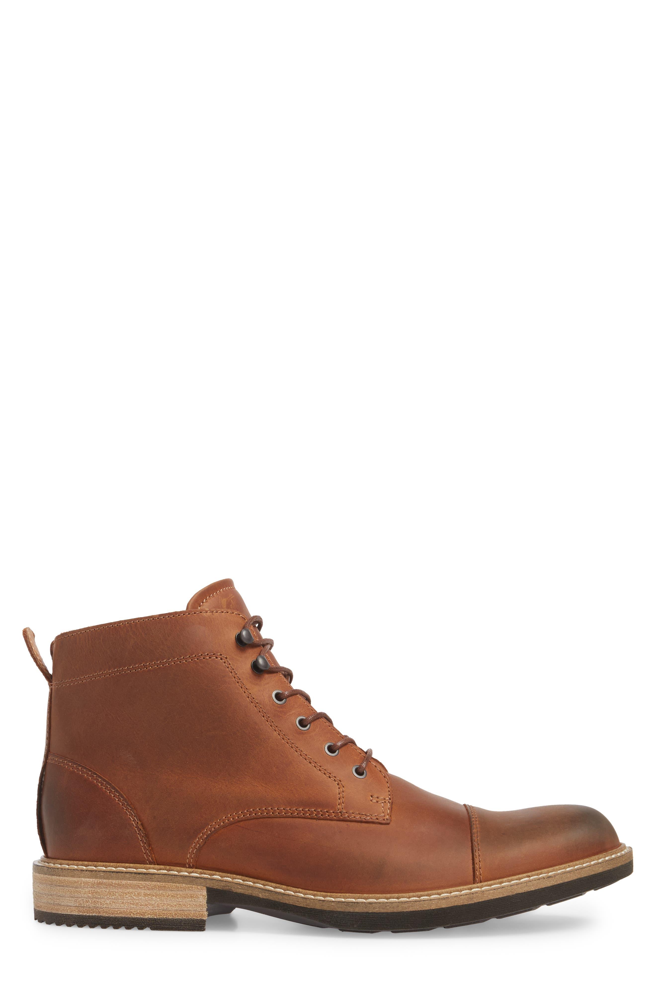 Kenton Vintage Cap Toe Boot,                             Alternate thumbnail 3, color,                             COGNAC LEATHER