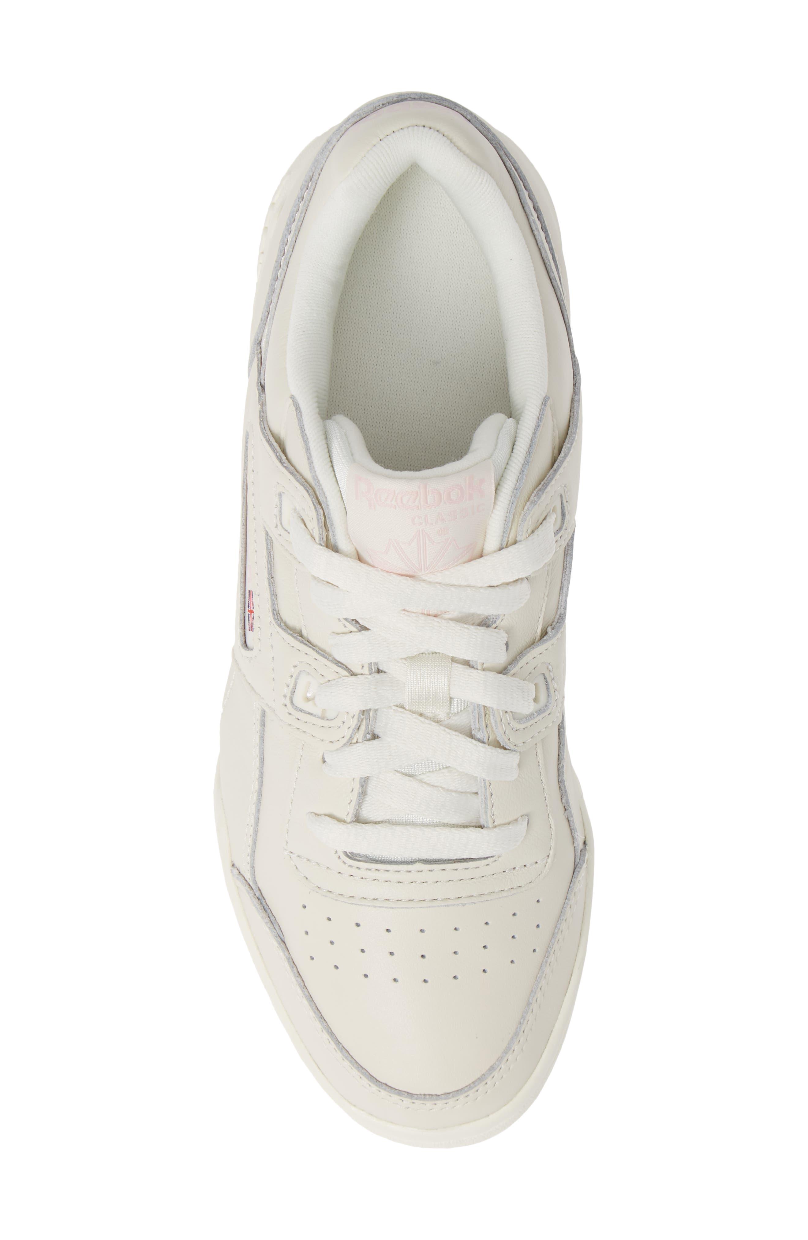 Workout Low Plus Sneaker,                             Alternate thumbnail 5, color,                             WHITE/ PRACTICAL PINK