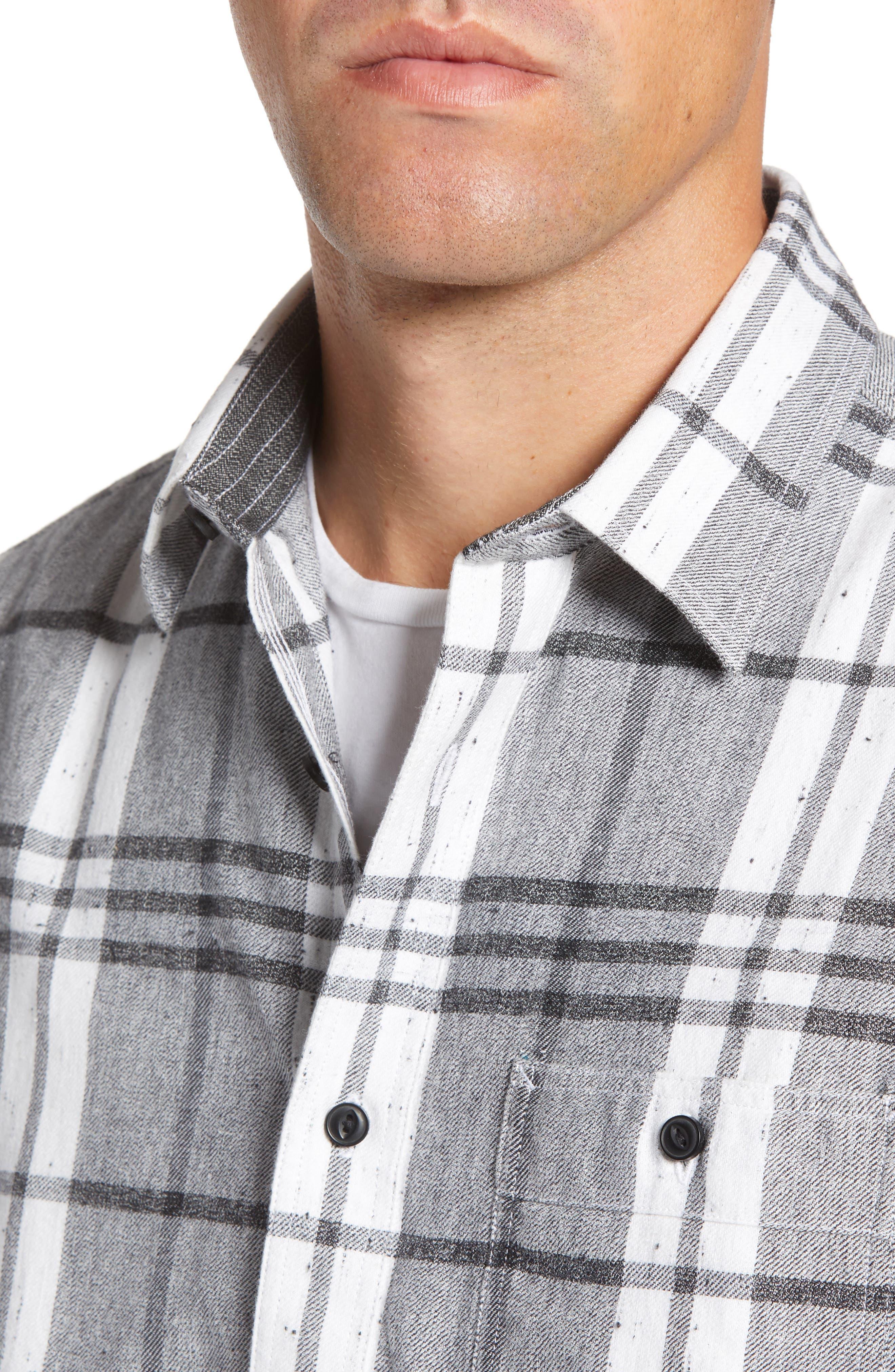 Trim Fit Brushed Plaid Utility Shirt,                             Alternate thumbnail 2, color,                             GREY CASTLEROCK NEP PLAID