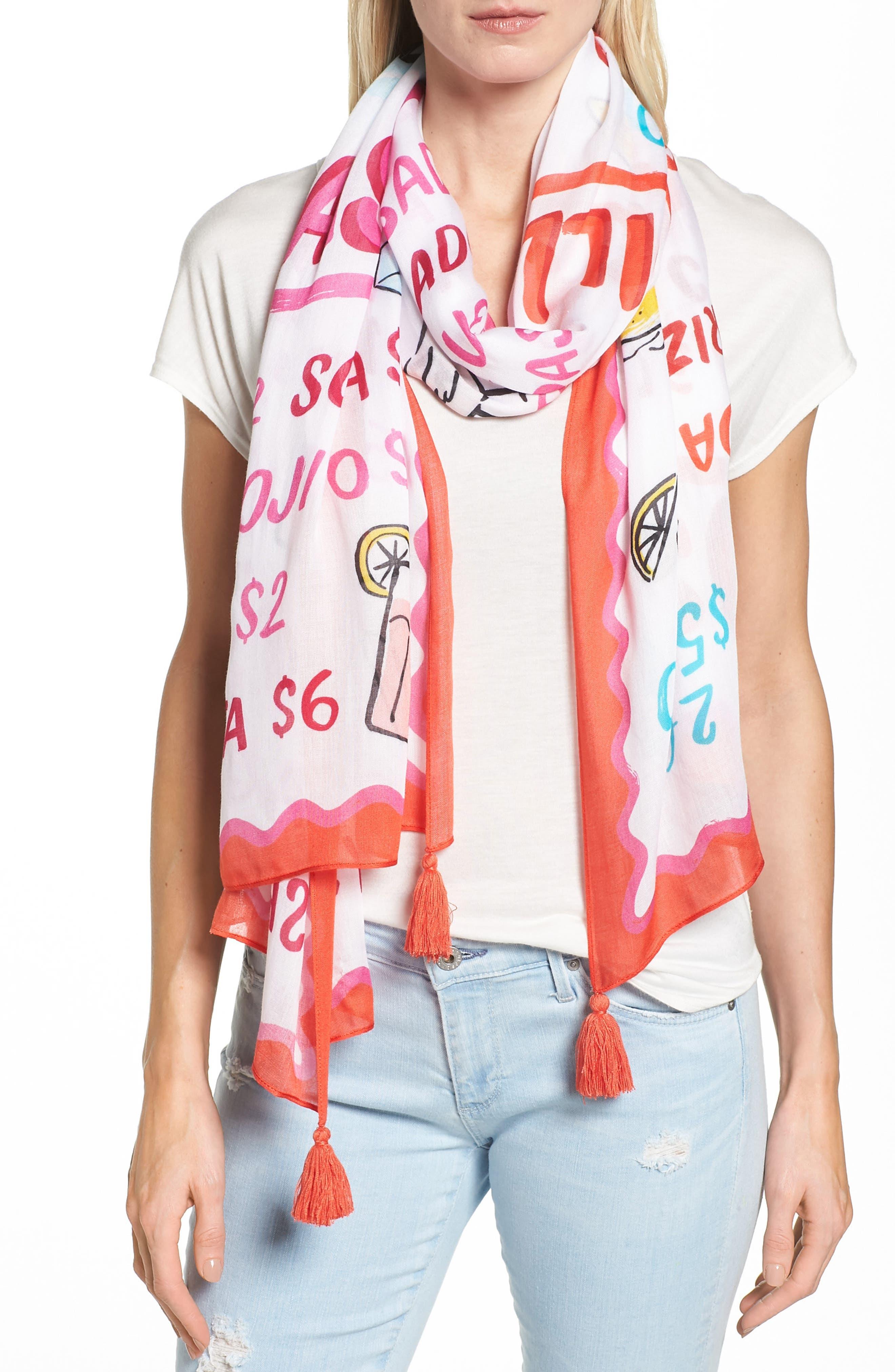 taco menu oblong scarf,                             Main thumbnail 1, color,                             900