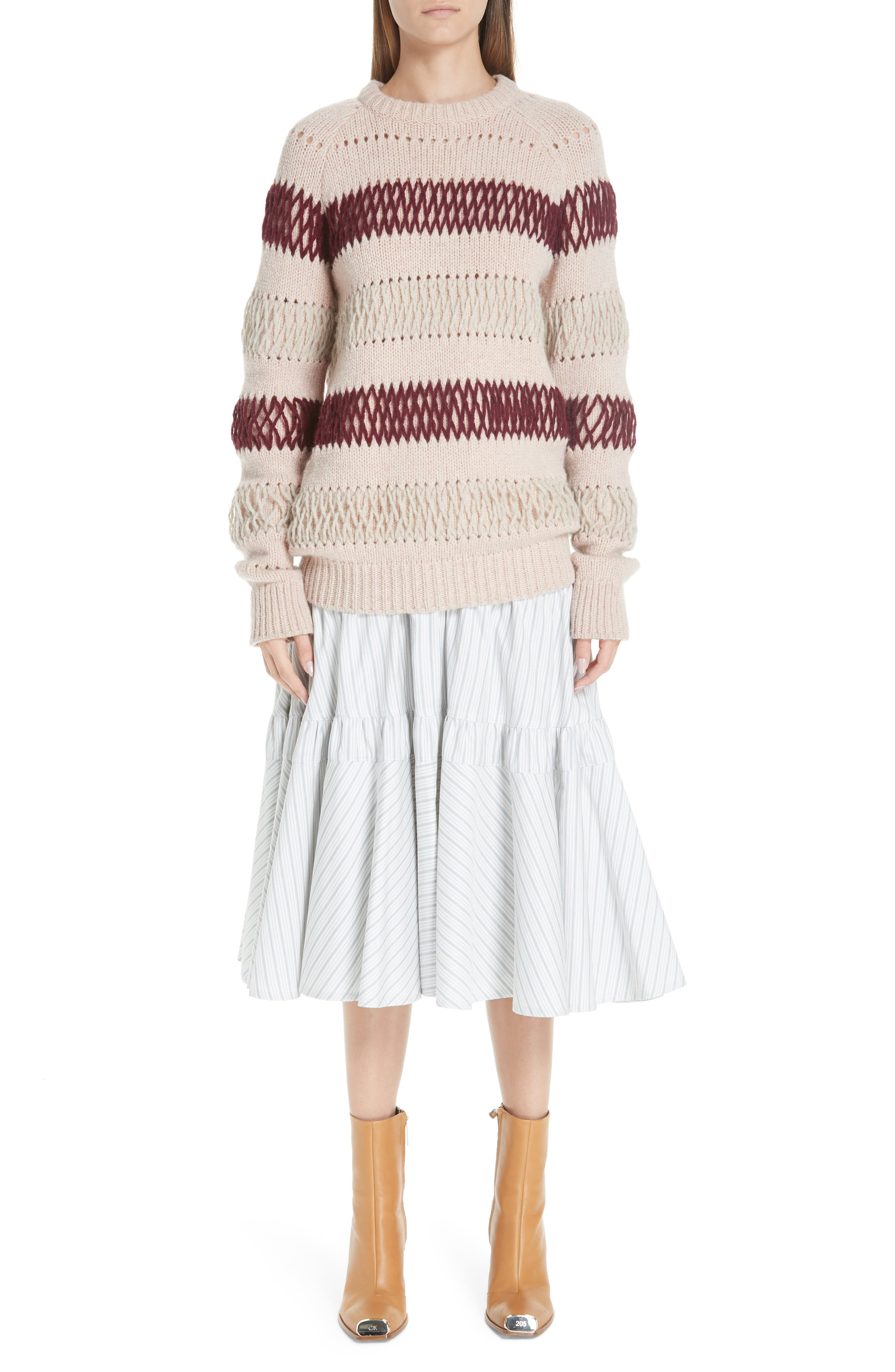 Embroidered Stripe Wool Sweater,                             Alternate thumbnail 8, color,                             PALE PINK BURGUNDY