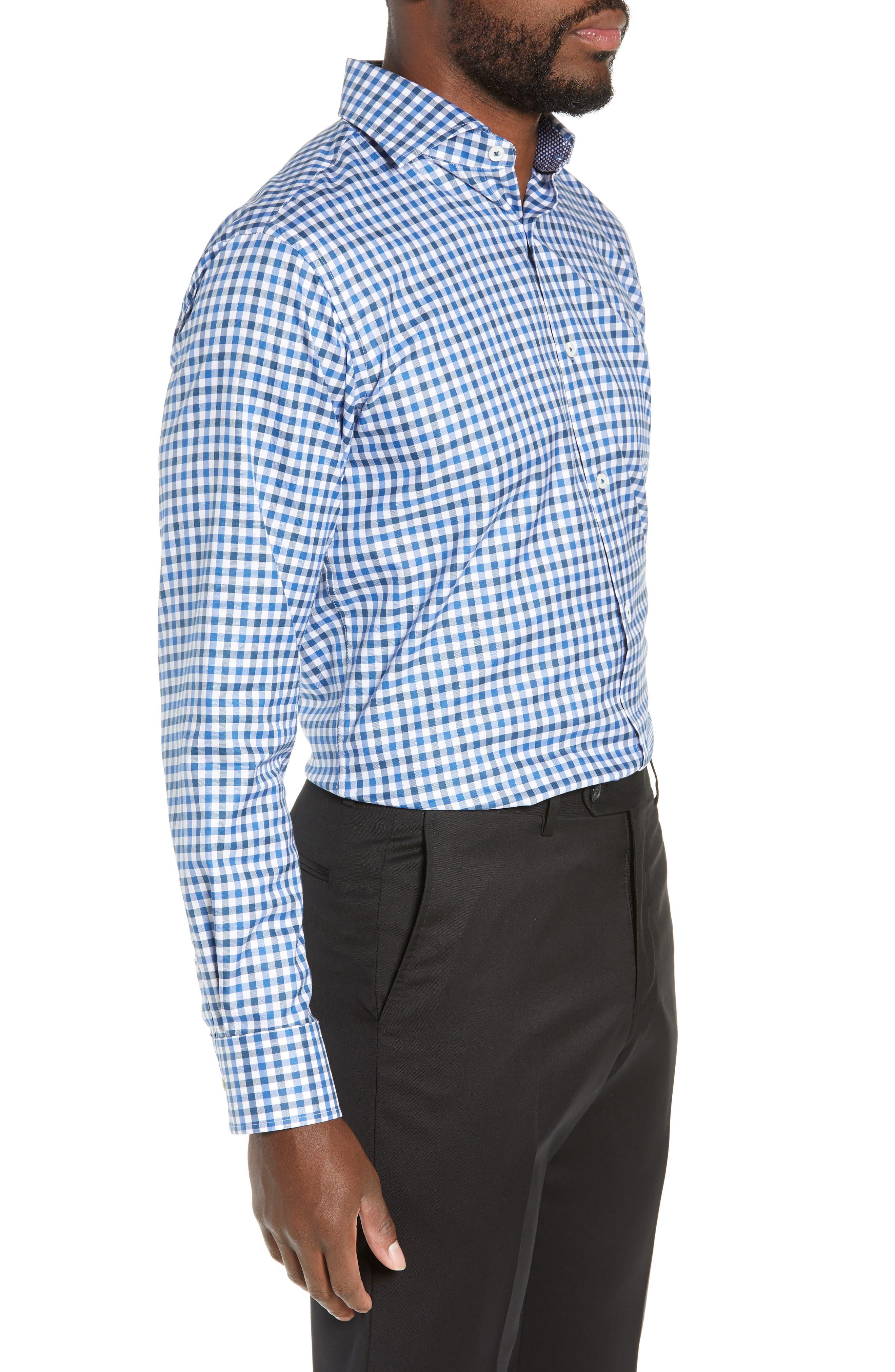 Trim Fit Check Dress Shirt,                             Alternate thumbnail 4, color,                             CLASSIC BLUE