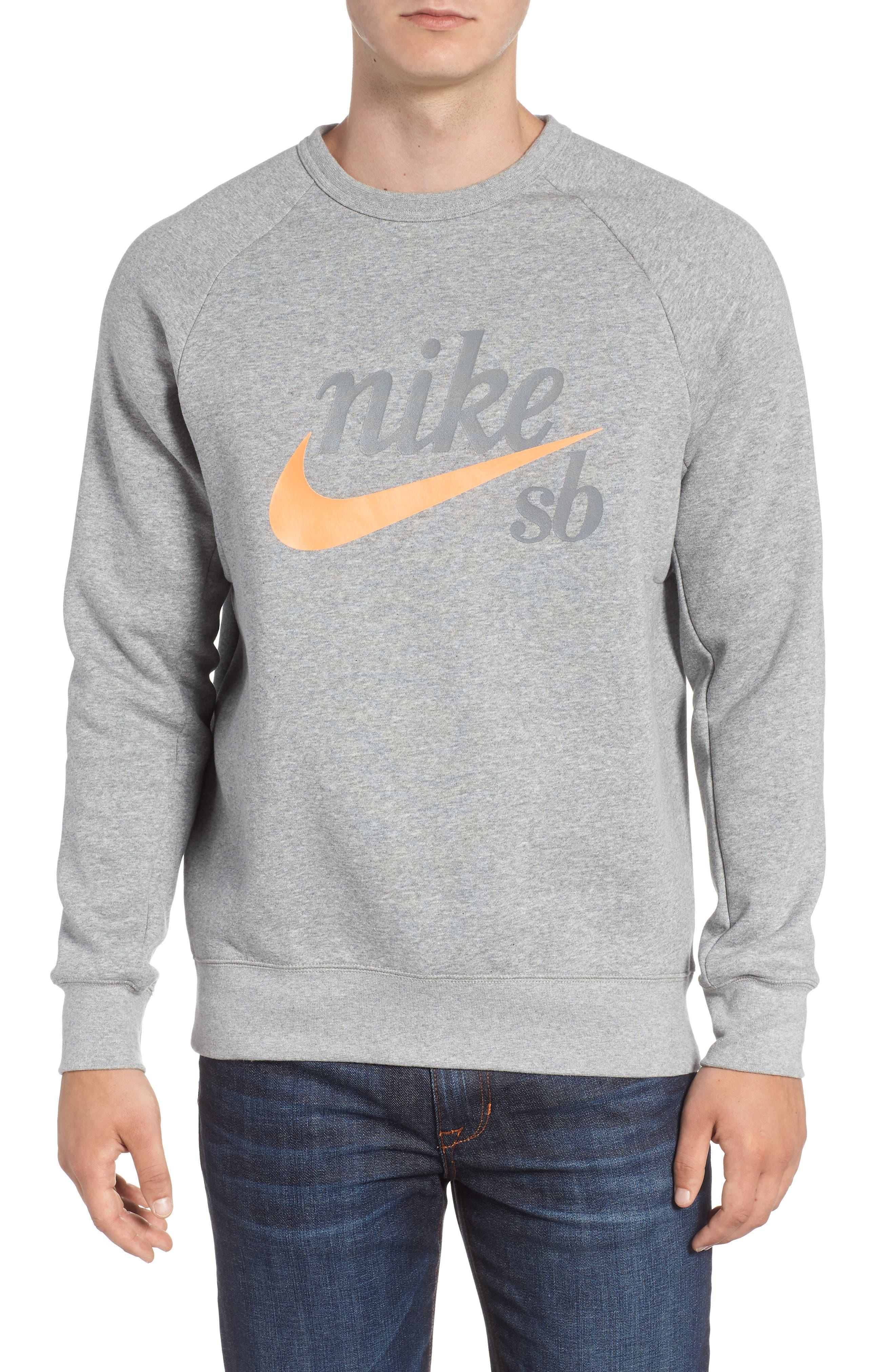 SB Icon Sweatshirt,                         Main,                         color, GREY HEATHER/ LASER ORANGE
