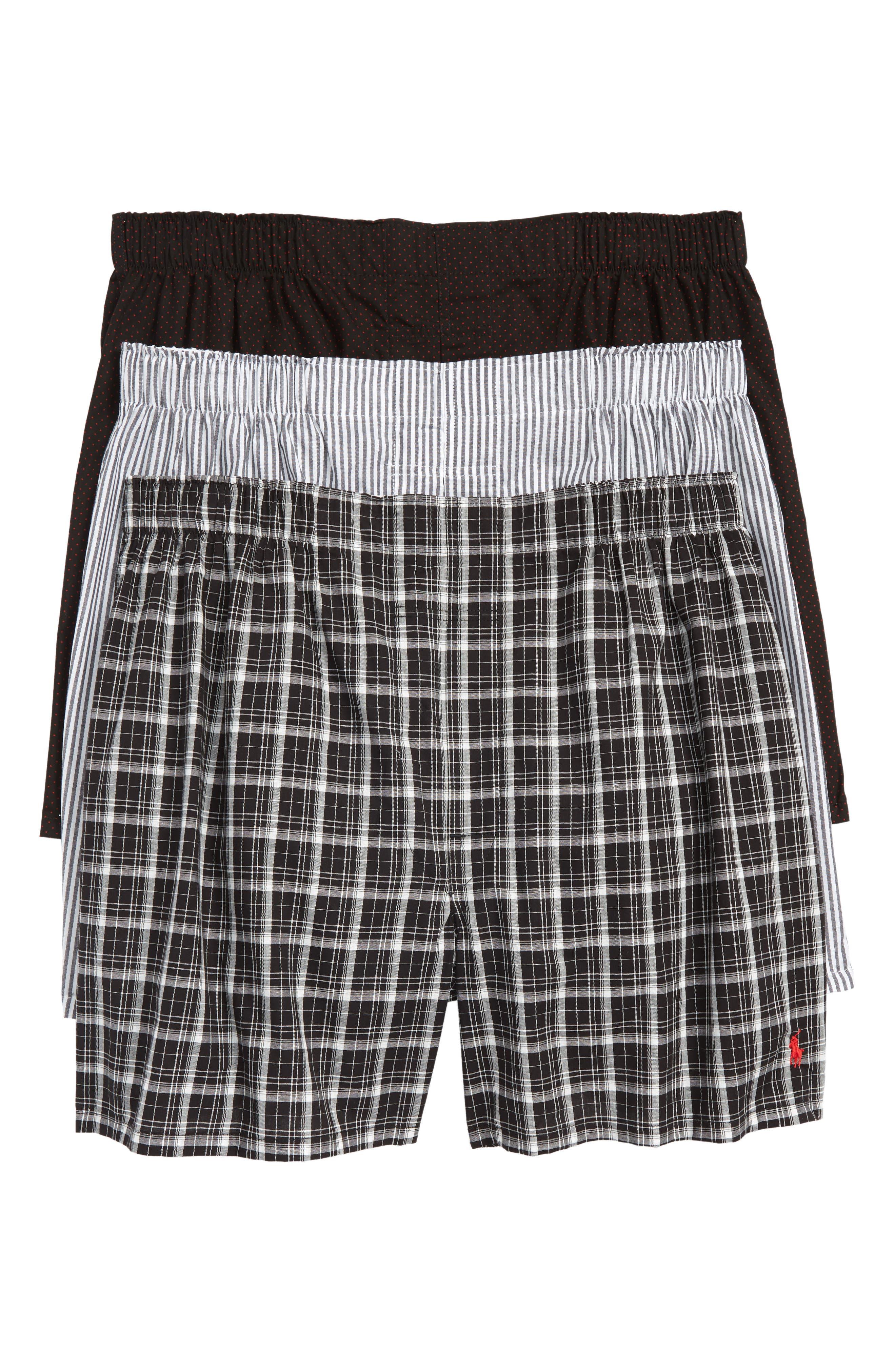 3-Pack Woven Cotton Boxers,                             Main thumbnail 1, color,                             POLO BLACK/ DOVER/ THOMAS