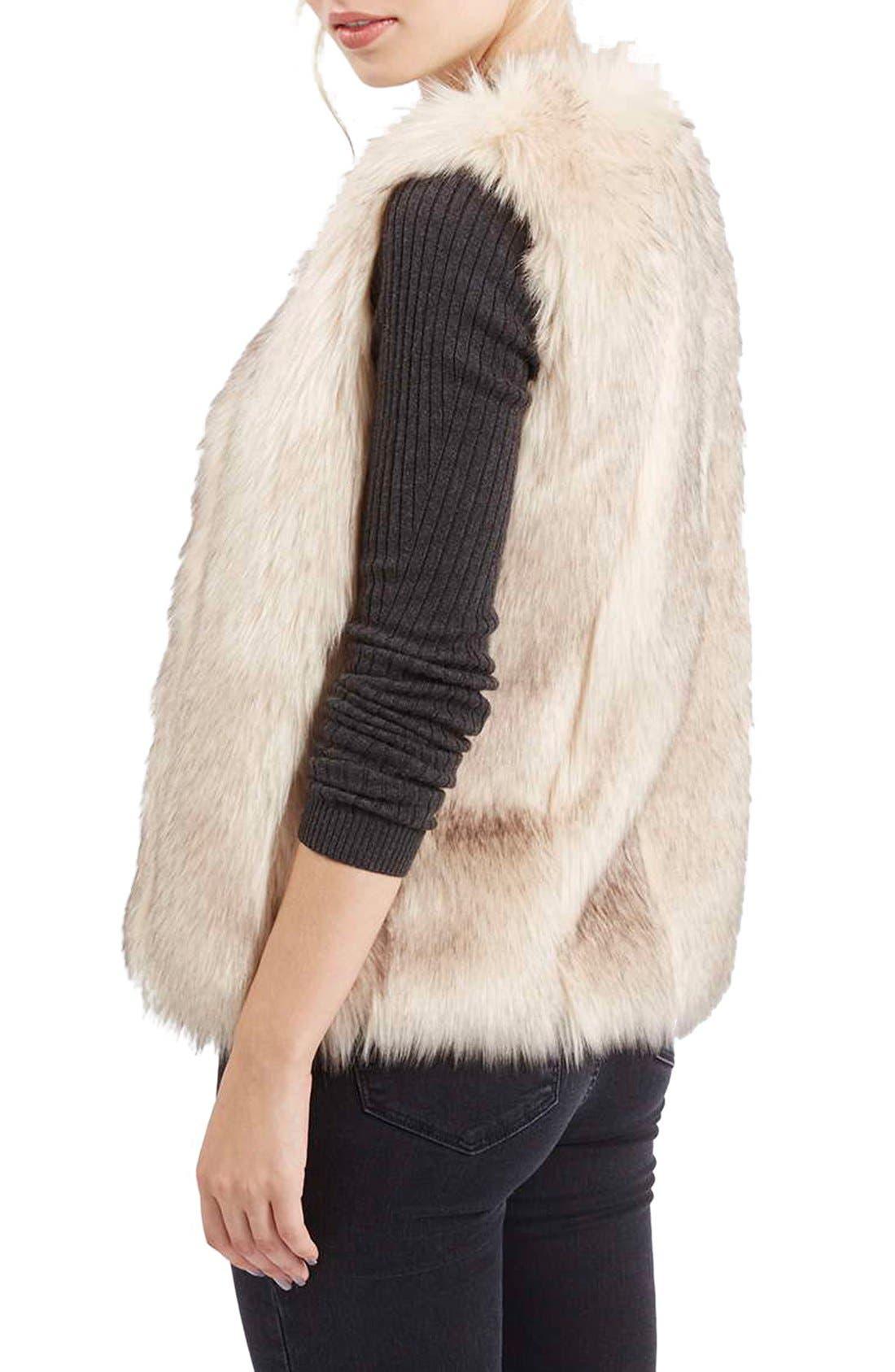 'Leah' Faux Fur Vest,                             Alternate thumbnail 3, color,                             900