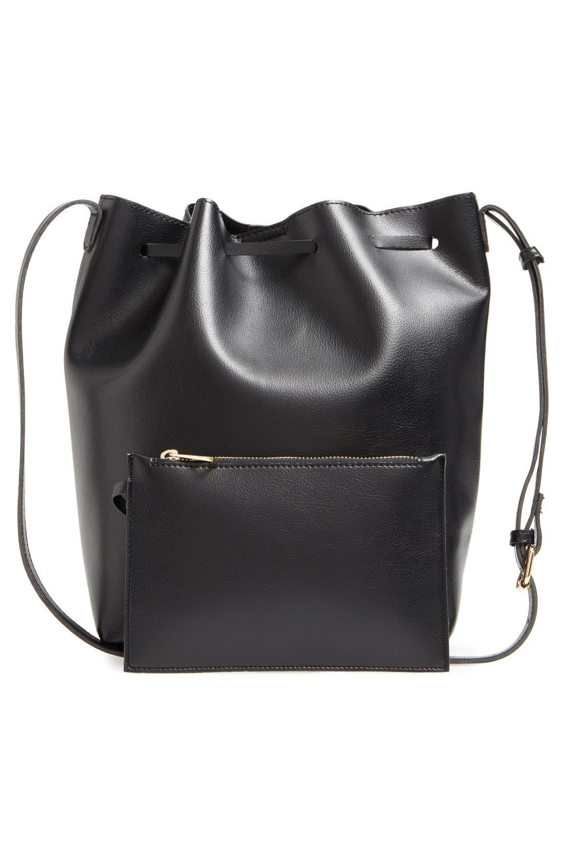 SOLE SOCIETY,                             'Blackwood' Faux Leather Bucket Bag,                             Alternate thumbnail 3, color,                             001