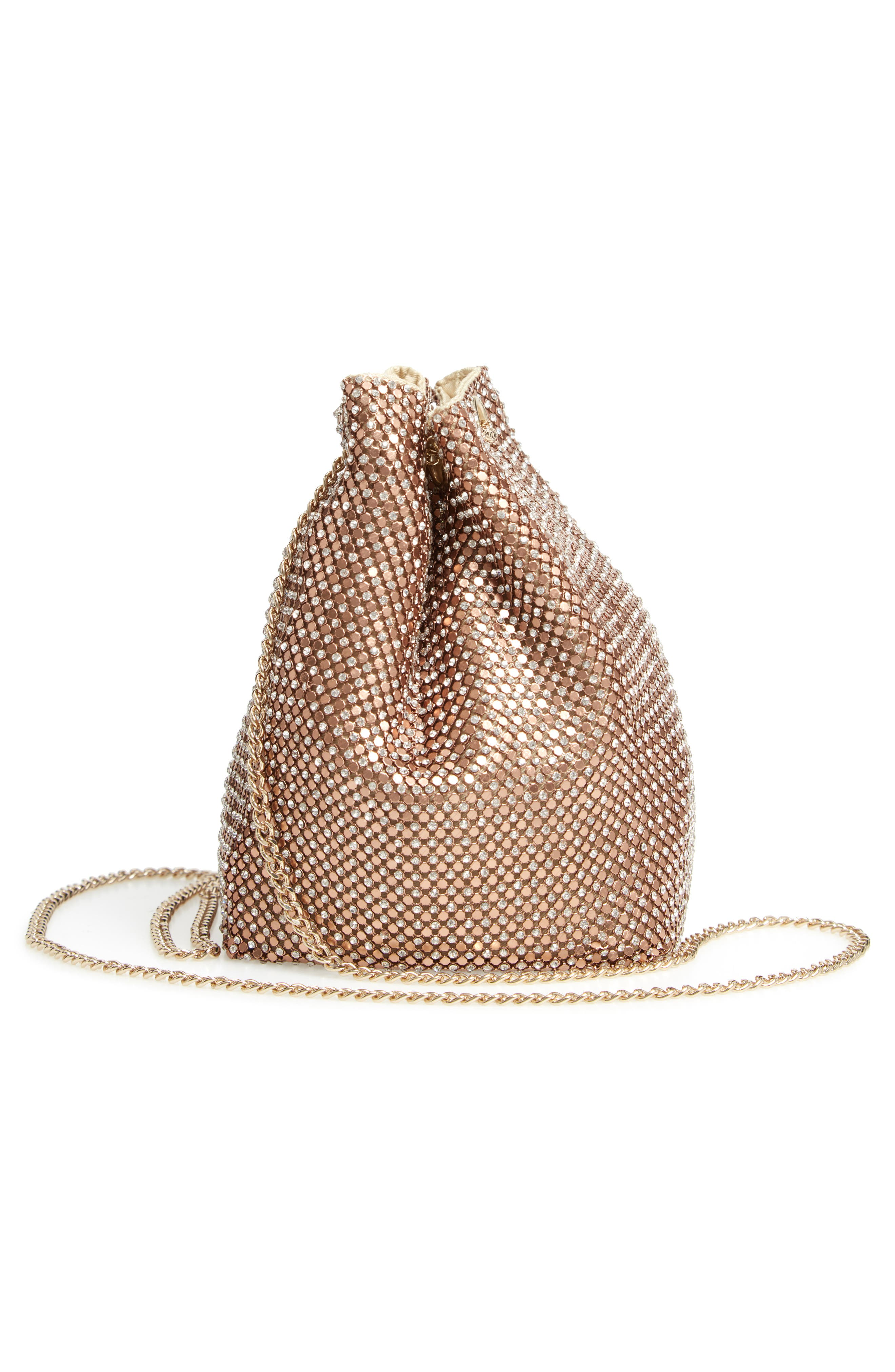 Crystal Mesh Crossbody Bucket Bag,                             Alternate thumbnail 5, color,                             ROSE GOLD