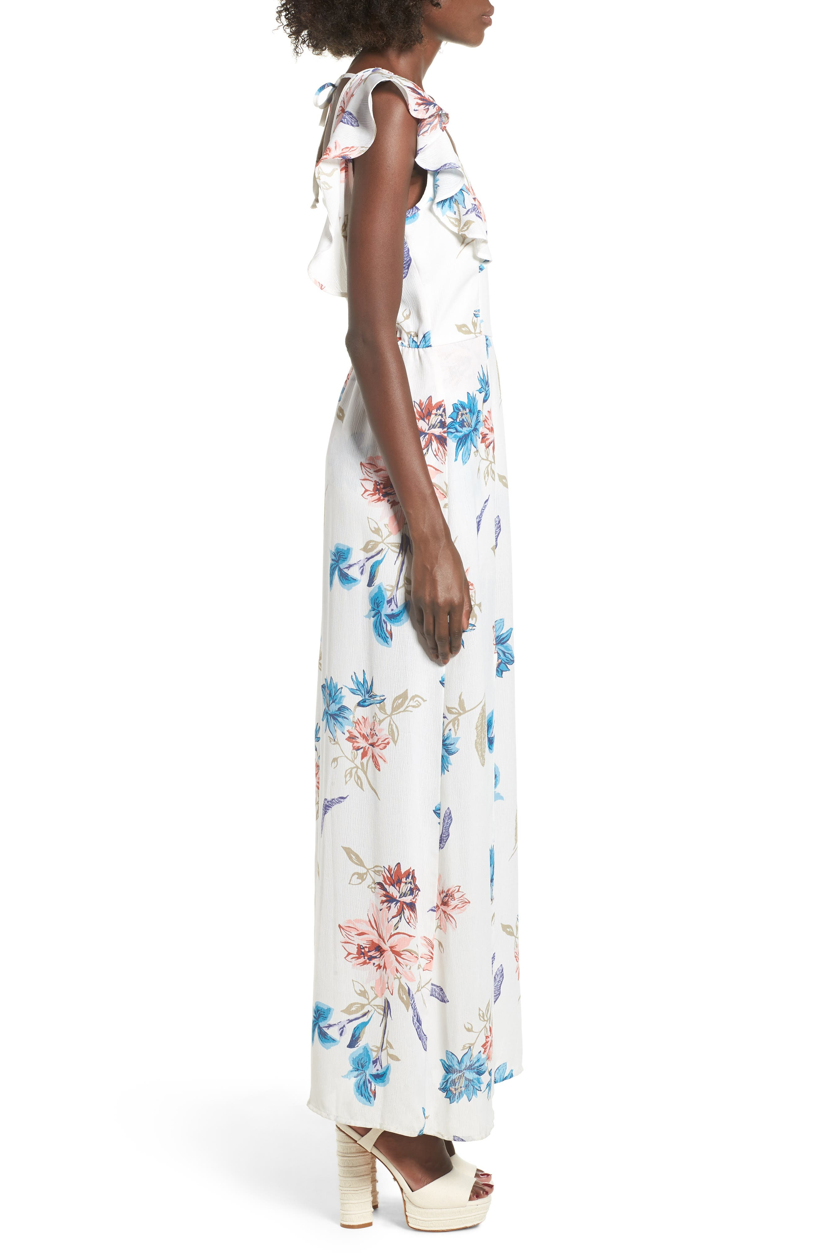 Floral Maxi Dress,                             Alternate thumbnail 3, color,                             100