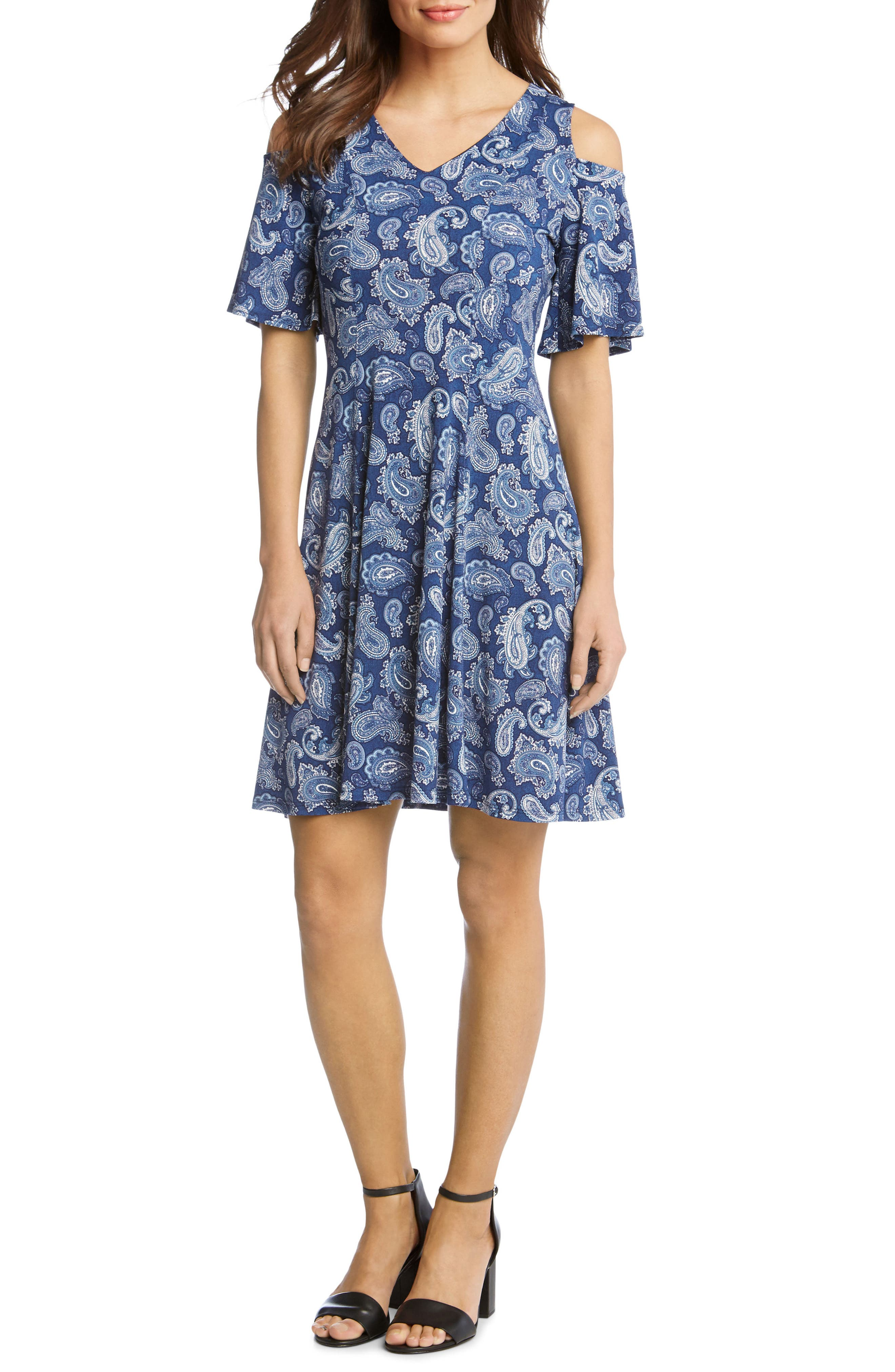 Cold Shoulder Paisley Dress,                             Main thumbnail 1, color,                             417