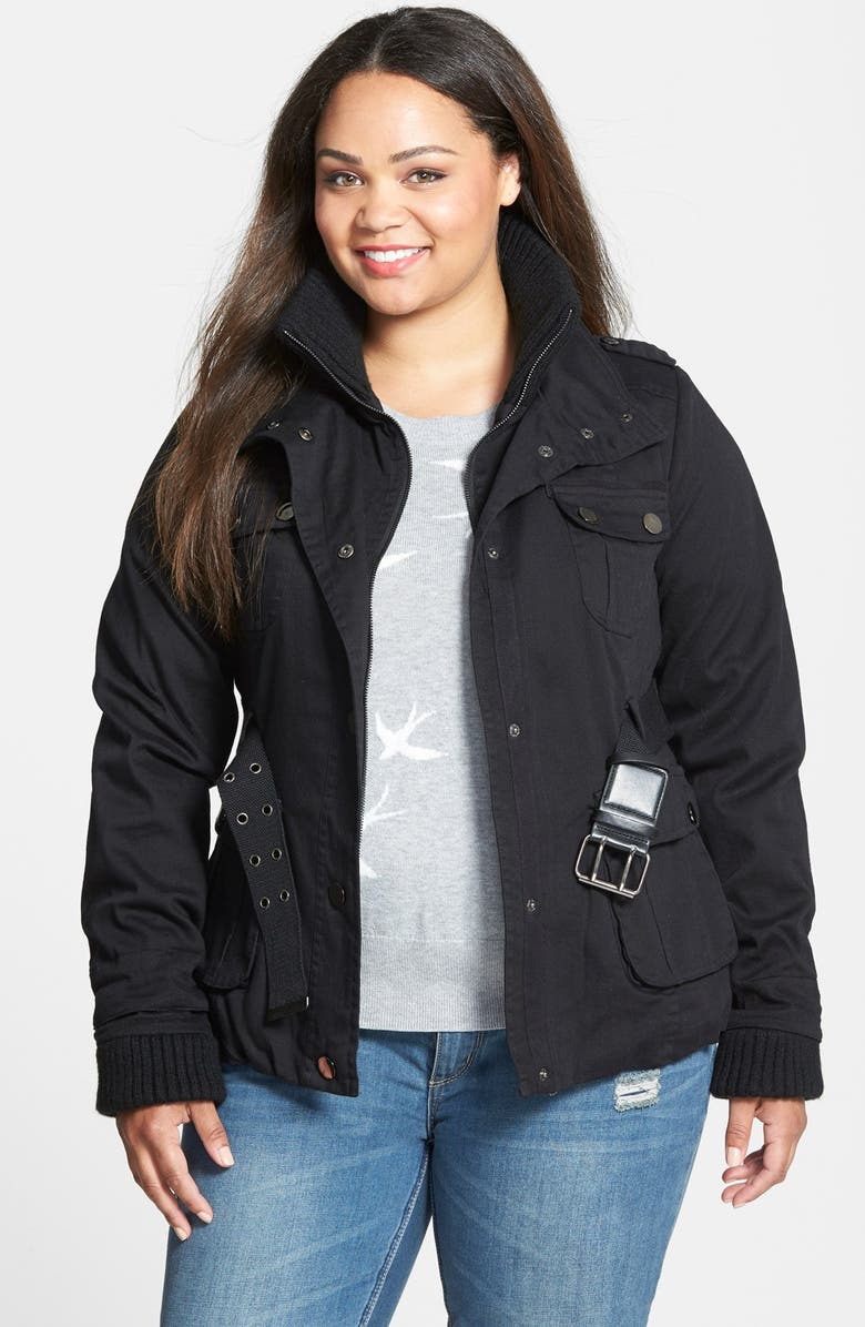 18b6cf940a4 City Chic Rib Trim Belted Utility Jacket (Plus Size)