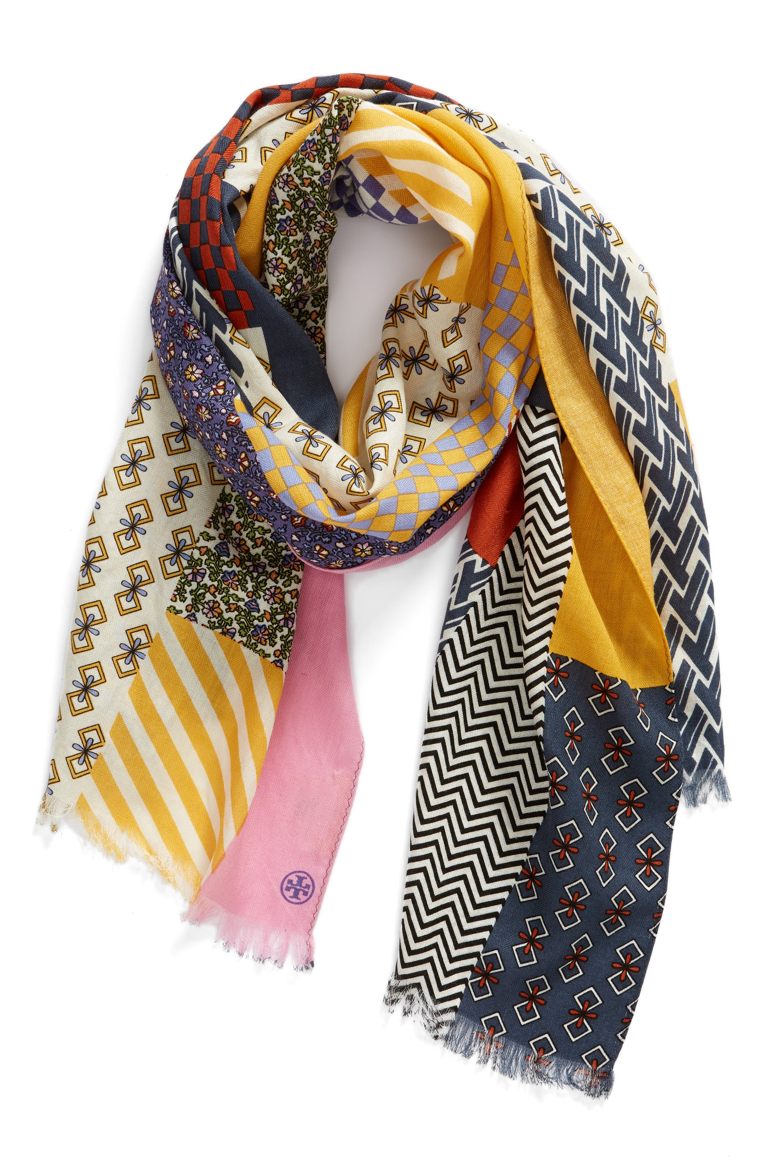Patchwork Printed Oblong Scarf,                             Alternate thumbnail 2, color,                             MULTI
