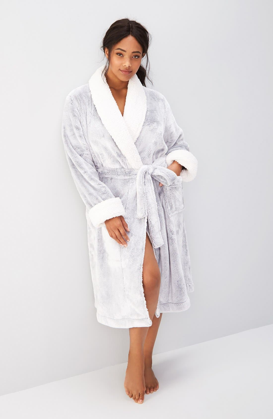Frosted Plush Robe,                             Alternate thumbnail 7, color,                             GREY PEPPER