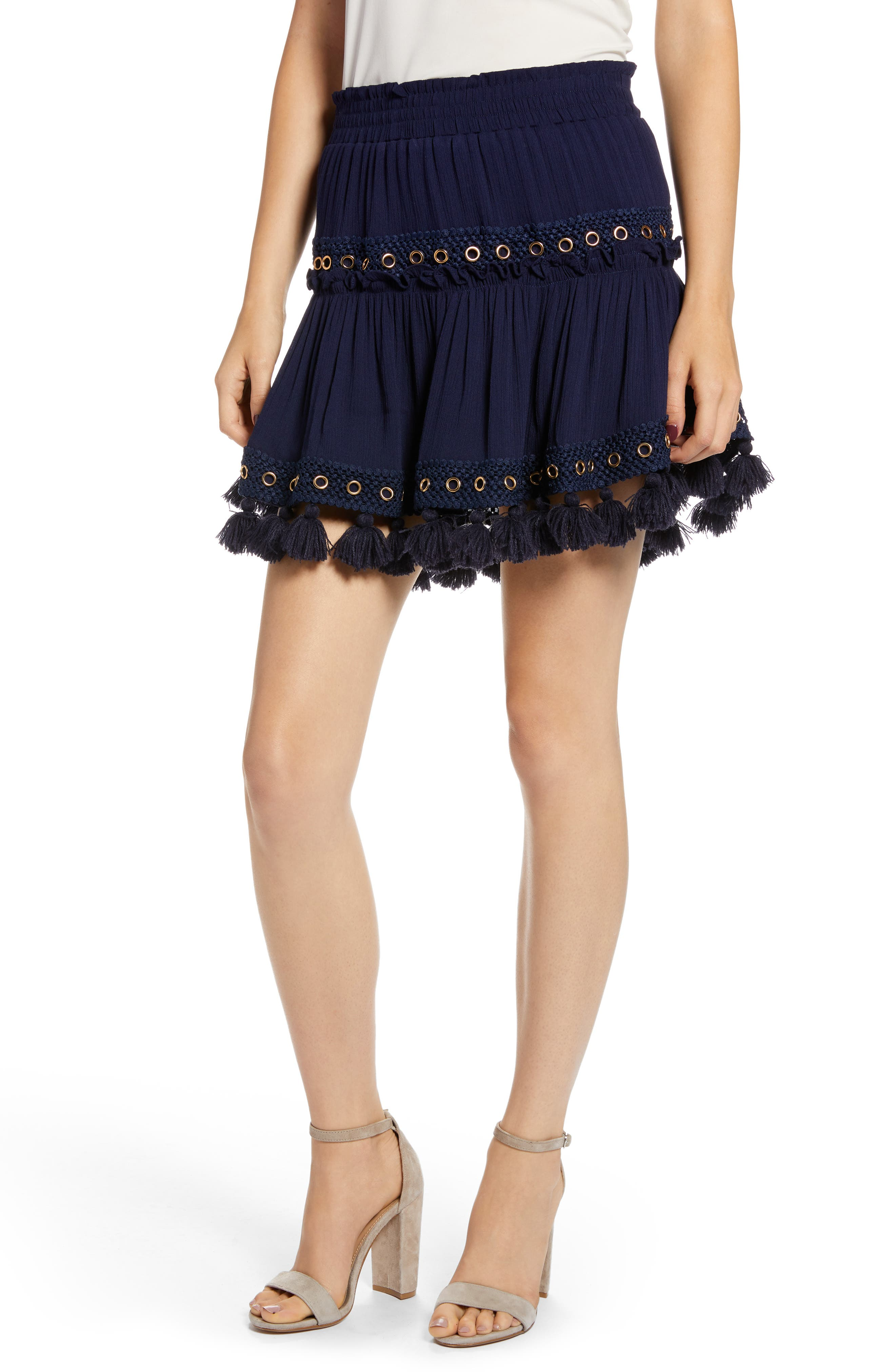 Marcella Fringe Trim Skirt,                             Main thumbnail 1, color,                             AZURE