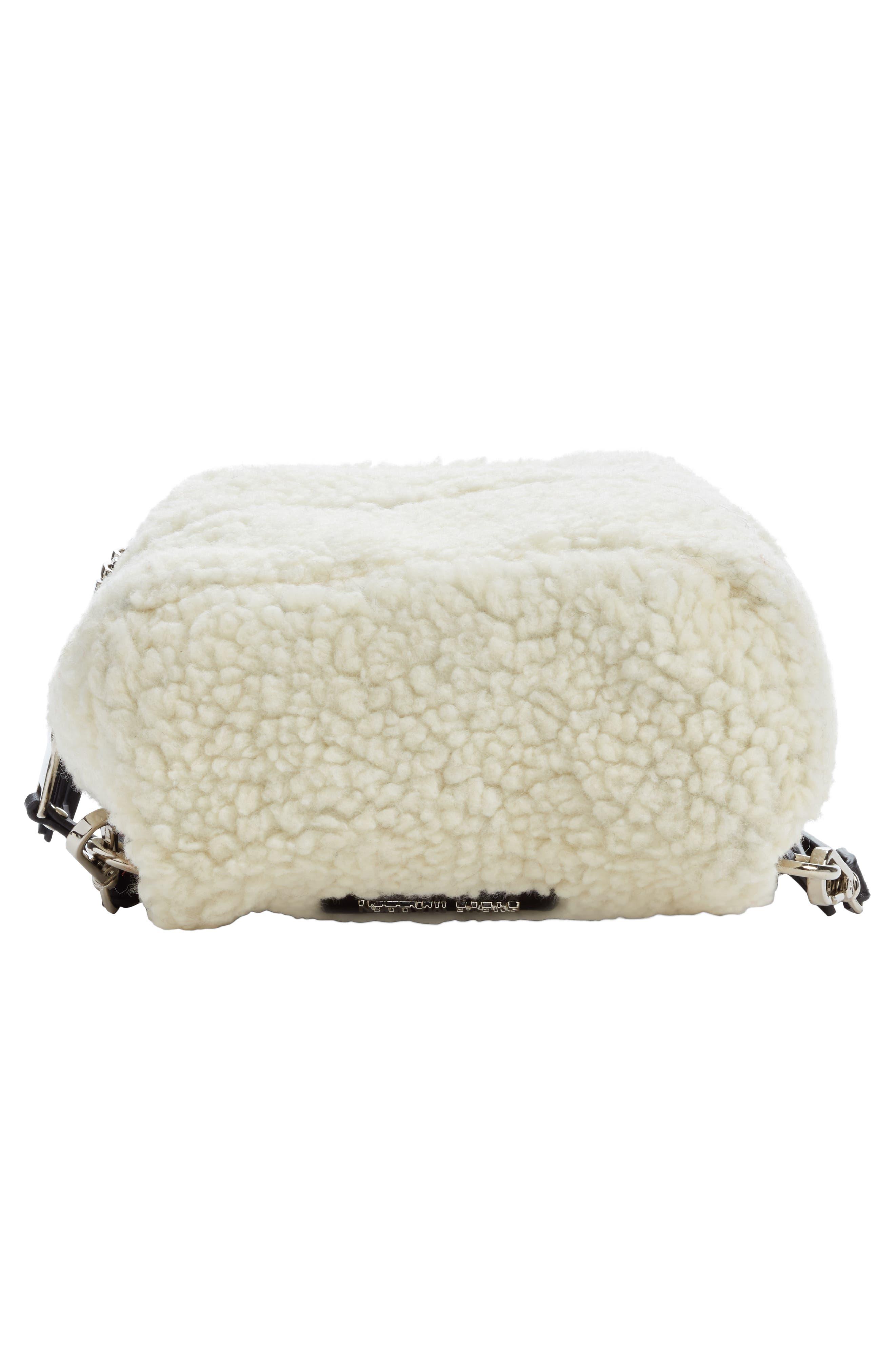 Mini Faux Fur Convertible Backpack,                             Alternate thumbnail 6, color,                             NATURAL