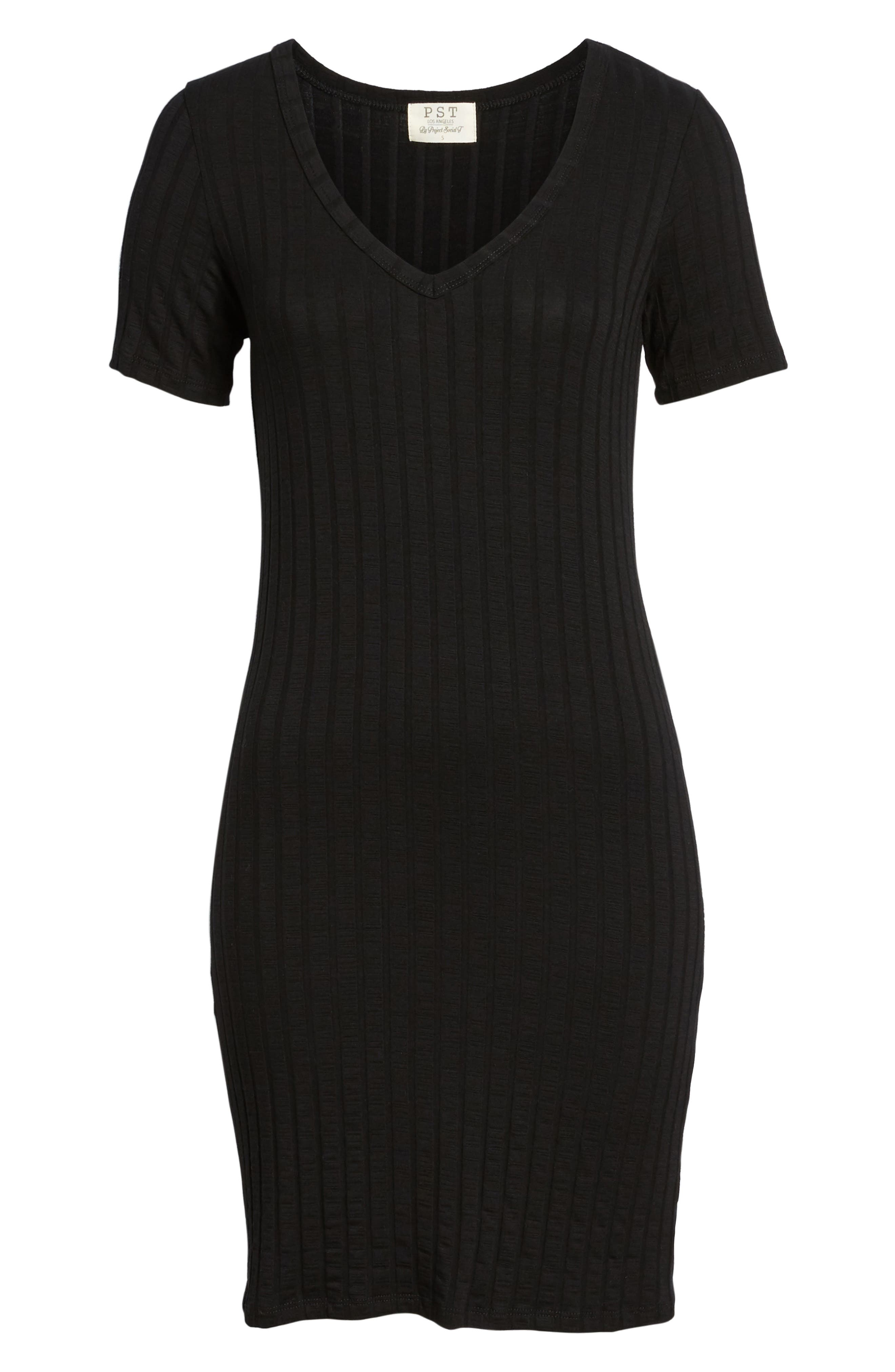 Project Social T Ribbed Body-Con Dress,                             Alternate thumbnail 6, color,                             001