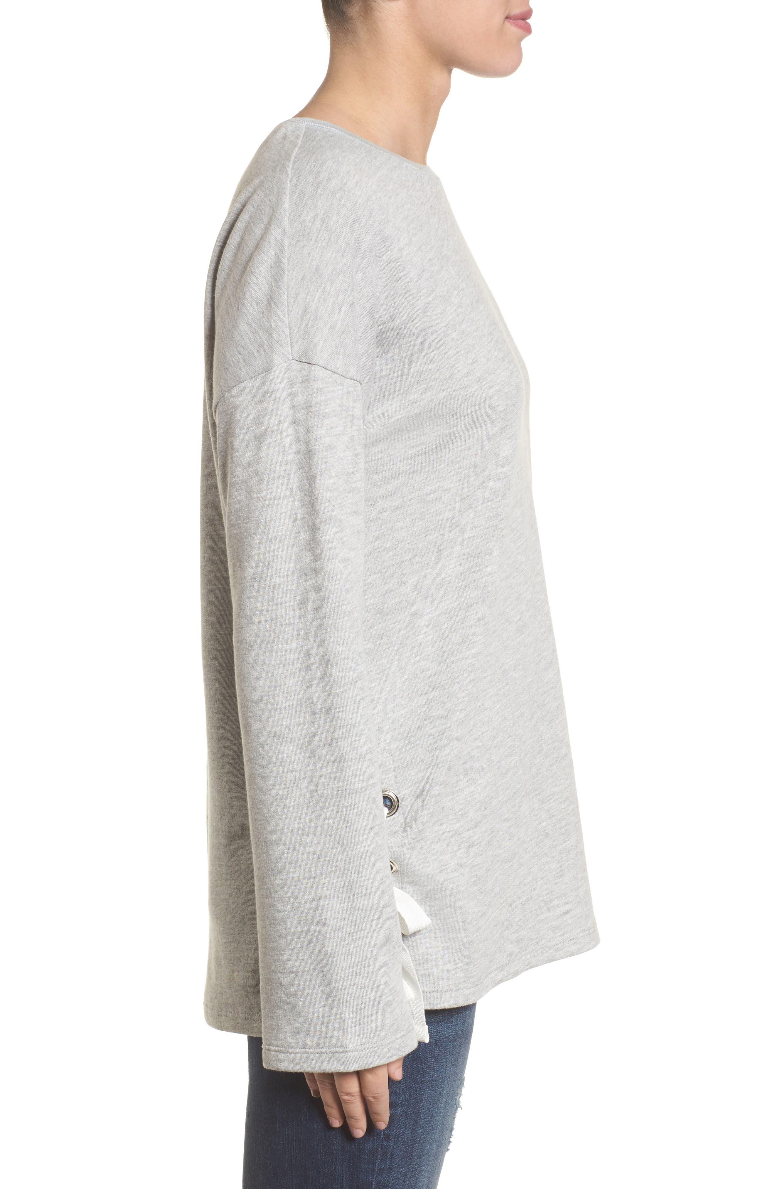 Lace-Up Side Sweatshirt,                             Alternate thumbnail 3, color,                             030