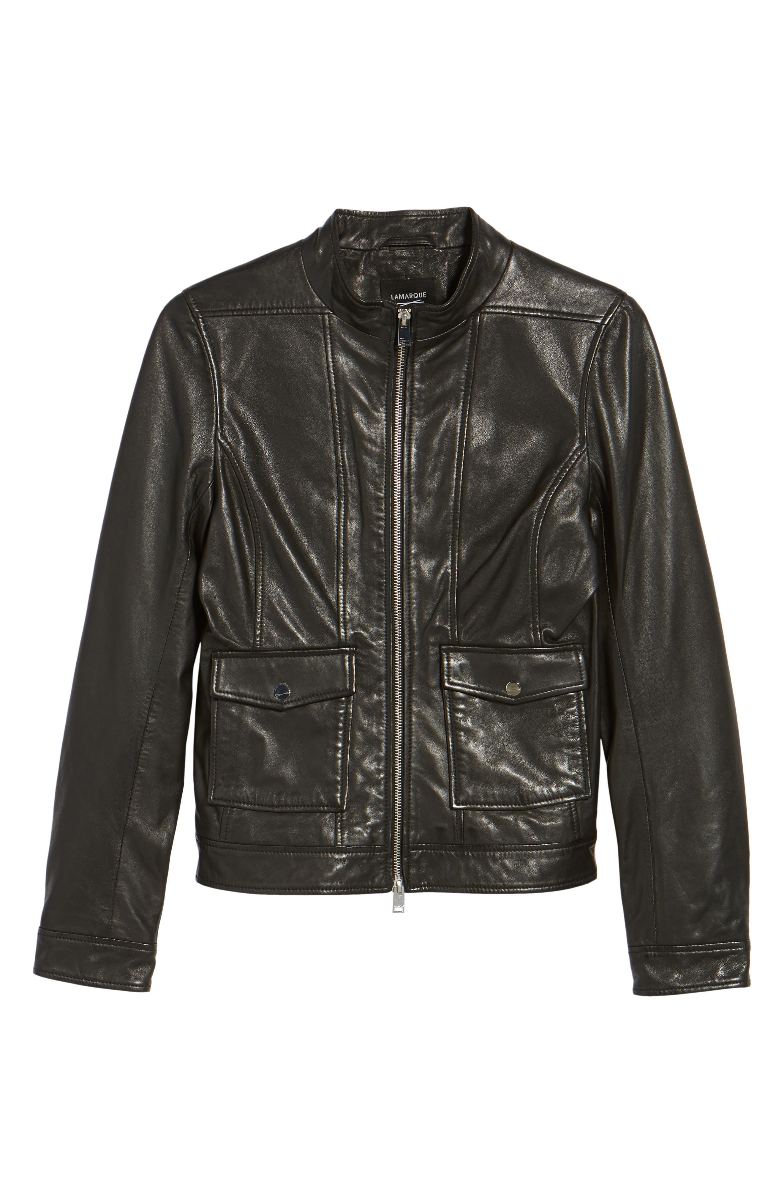 Patch Pocket Leather Biker Jacket,                             Alternate thumbnail 5, color,                             BLACK