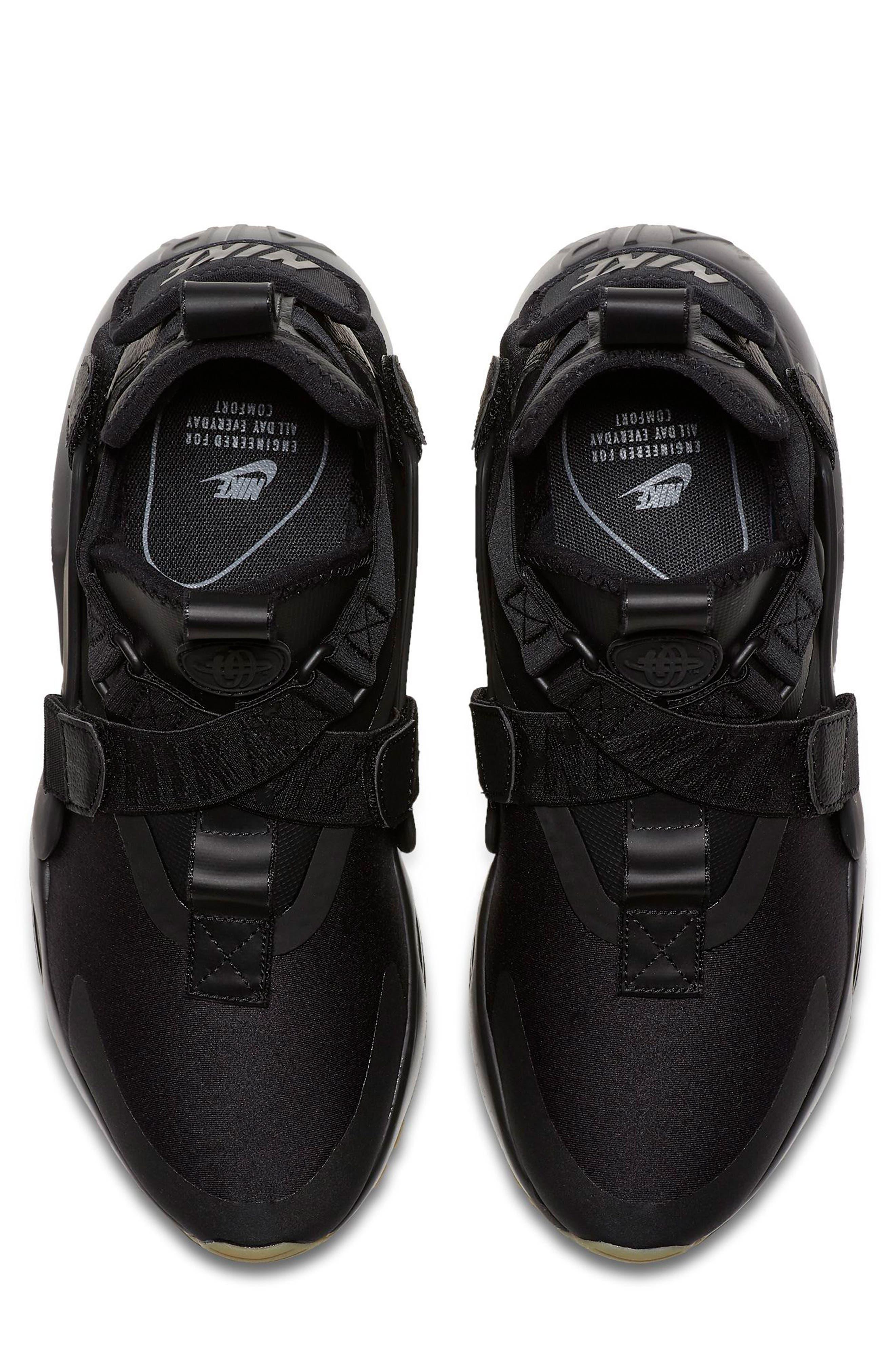 Air Huarache City Sneaker,                             Alternate thumbnail 4, color,                             BLACK/ BLACK/ DARK GREY