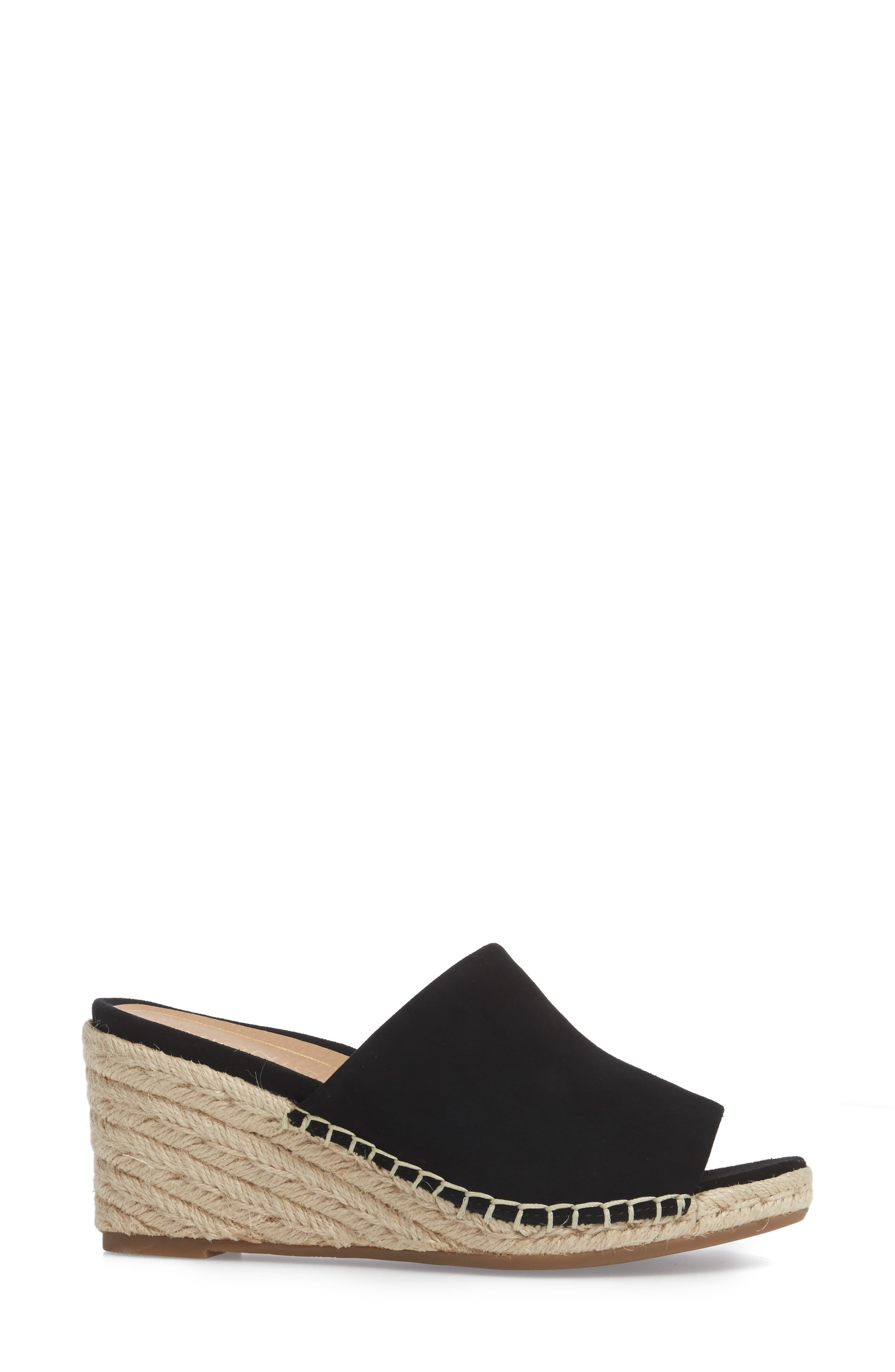 Kadyn Espadrille Wedge Sandal,                             Alternate thumbnail 3, color,                             BLACK SUEDE